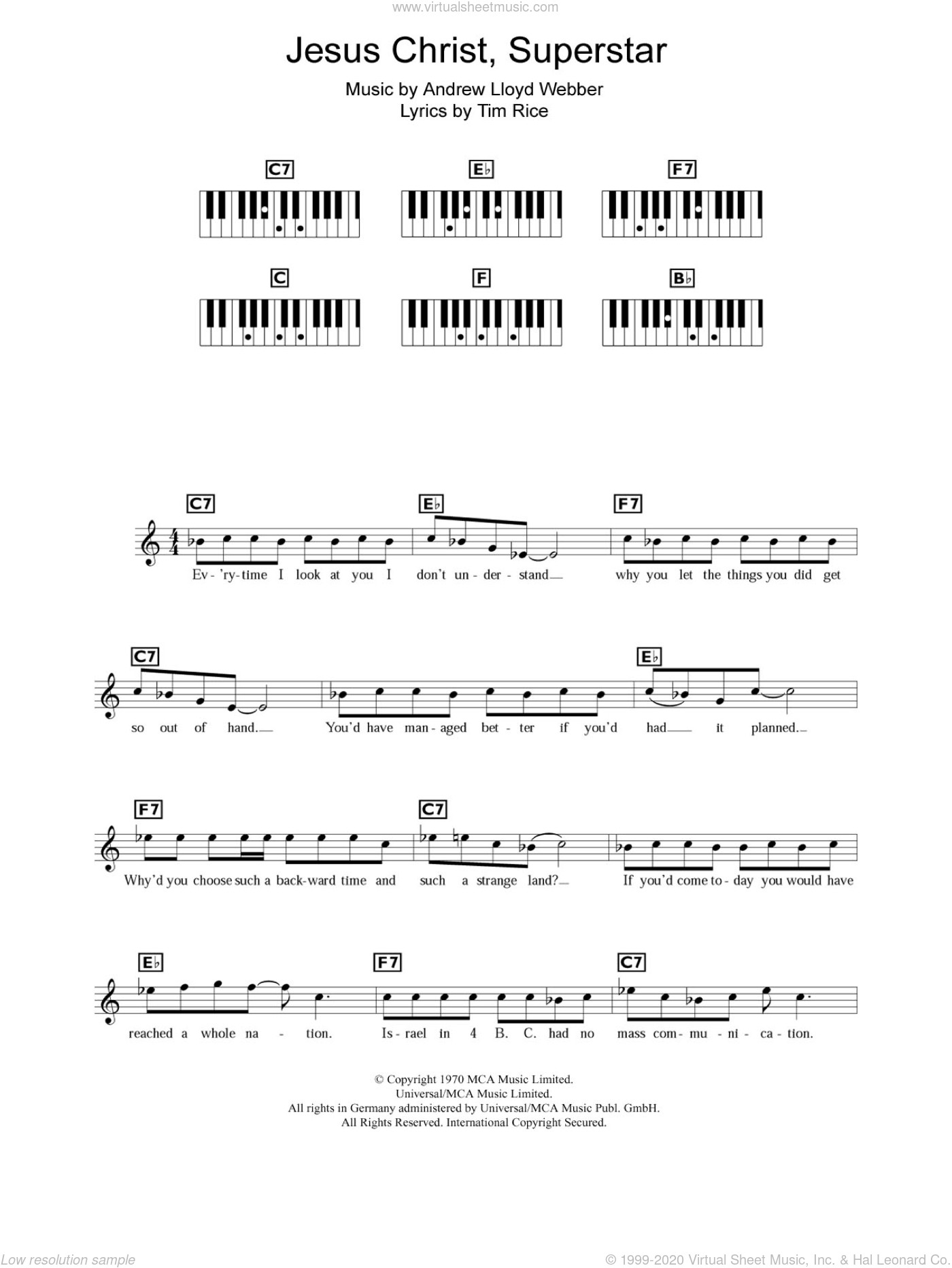 Jesus Christ, Superstar sheet music for piano solo (chords, lyrics, melody) by Andrew Lloyd Webber and Tim Rice. Score Image Preview.