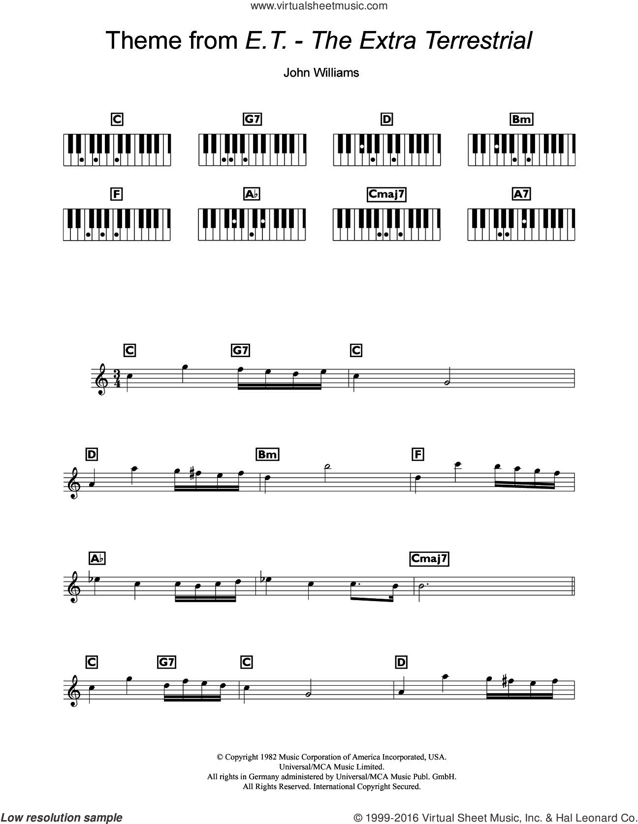 Theme From E.T. - The Extra-Terrestrial sheet music for piano solo (chords, lyrics, melody) by John Williams. Score Image Preview.