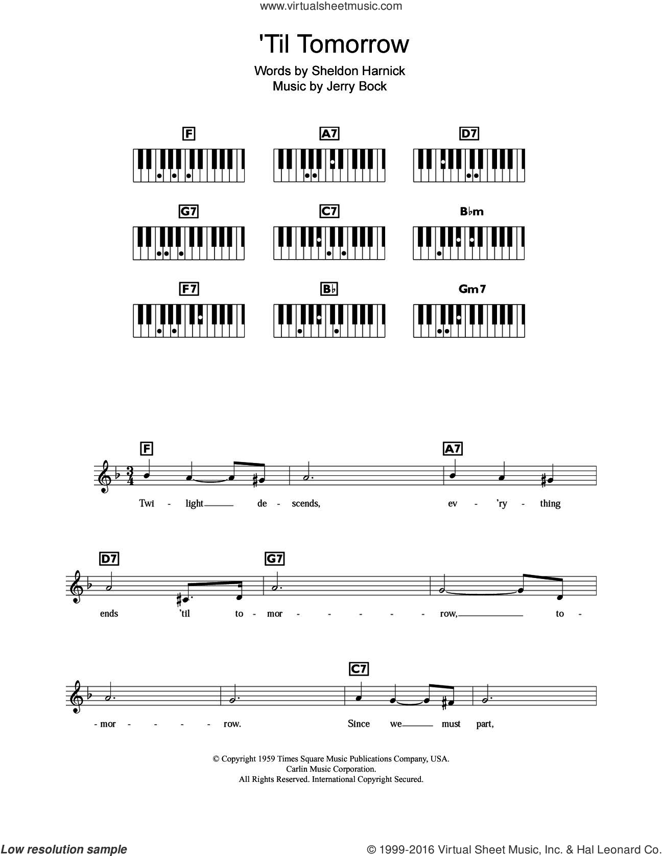 'Til Tomorrow (from Fiorello!) sheet music for piano solo (chords, lyrics, melody) by Jerry Bock and Sheldon Harnick, intermediate piano (chords, lyrics, melody). Score Image Preview.