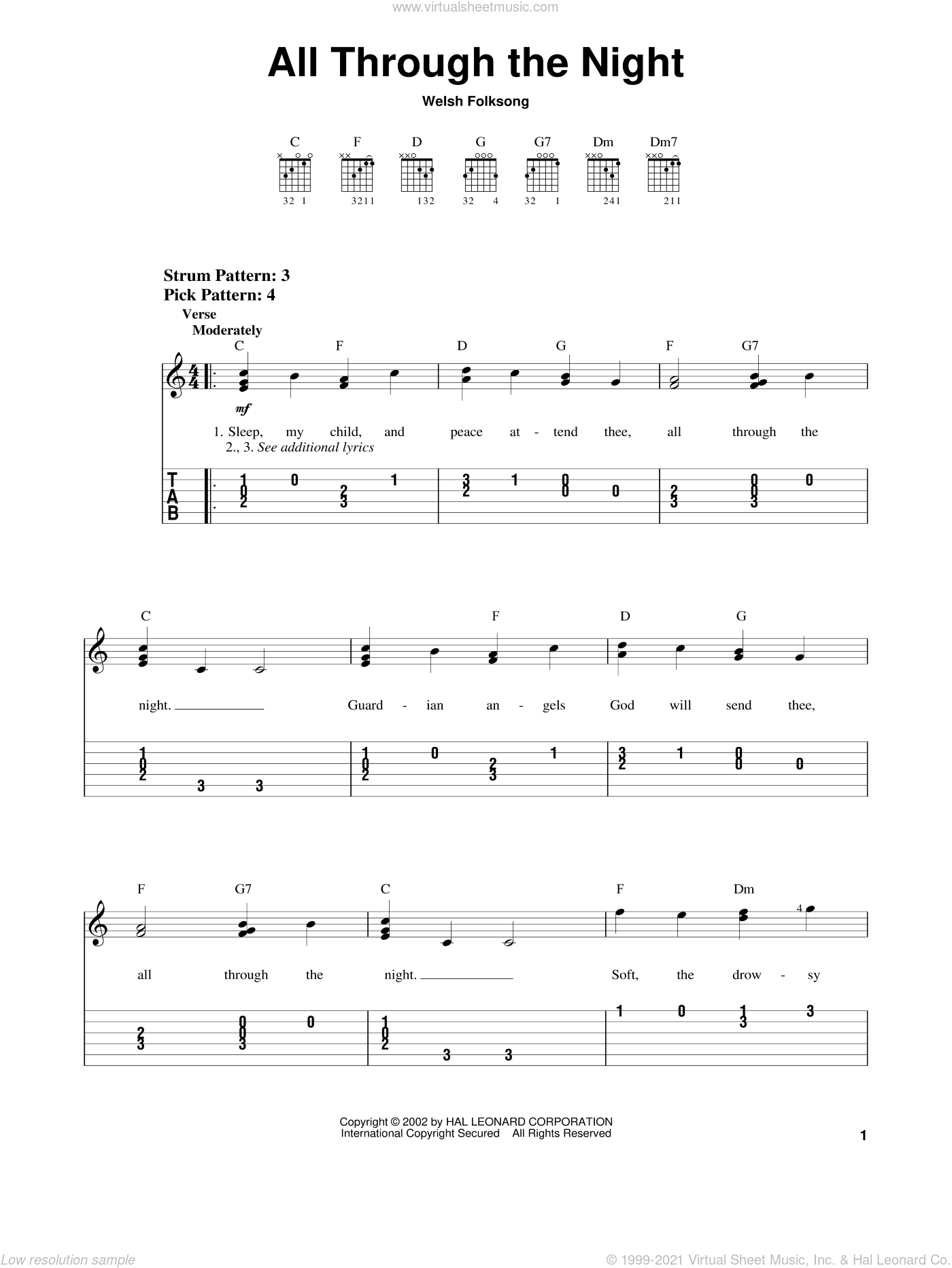 All Through The Night sheet music for guitar solo (easy tablature), classical score, easy guitar (easy tablature)