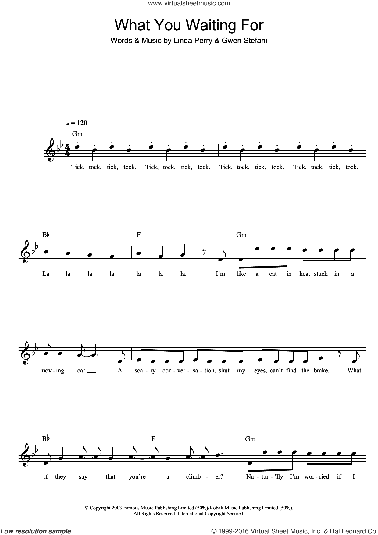What You Waiting For sheet music for voice and other instruments (fake book) by Gwen Stefani, intermediate voice. Score Image Preview.