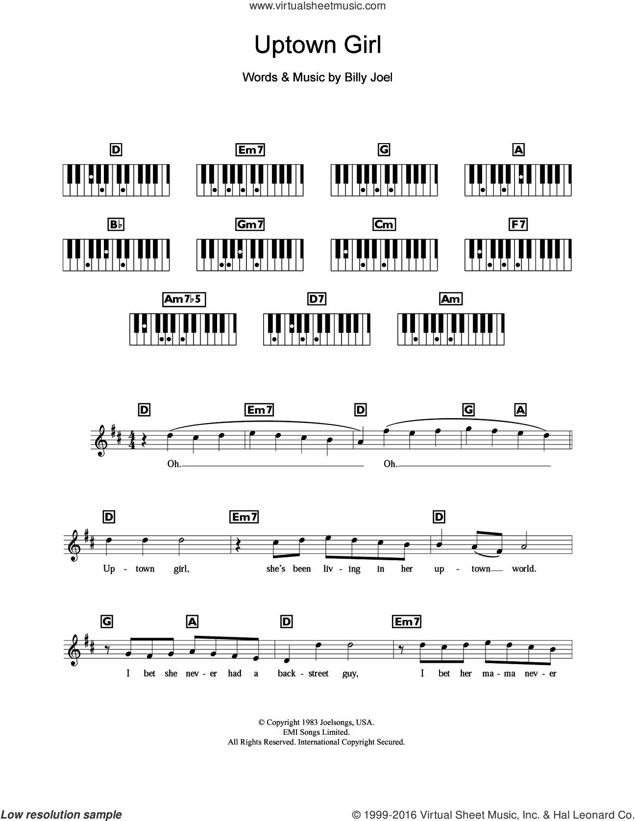 Uptown Girl sheet music for piano solo (chords, lyrics, melody) by Westlife and Billy Joel, intermediate piano (chords, lyrics, melody)