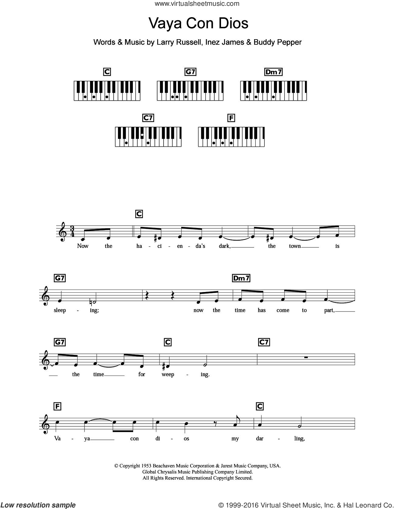 Vaya Con Dios sheet music for piano solo (chords, lyrics, melody) by Les Paul, Buddy Pepper, Inez James and Larry Russell, intermediate piano (chords, lyrics, melody)