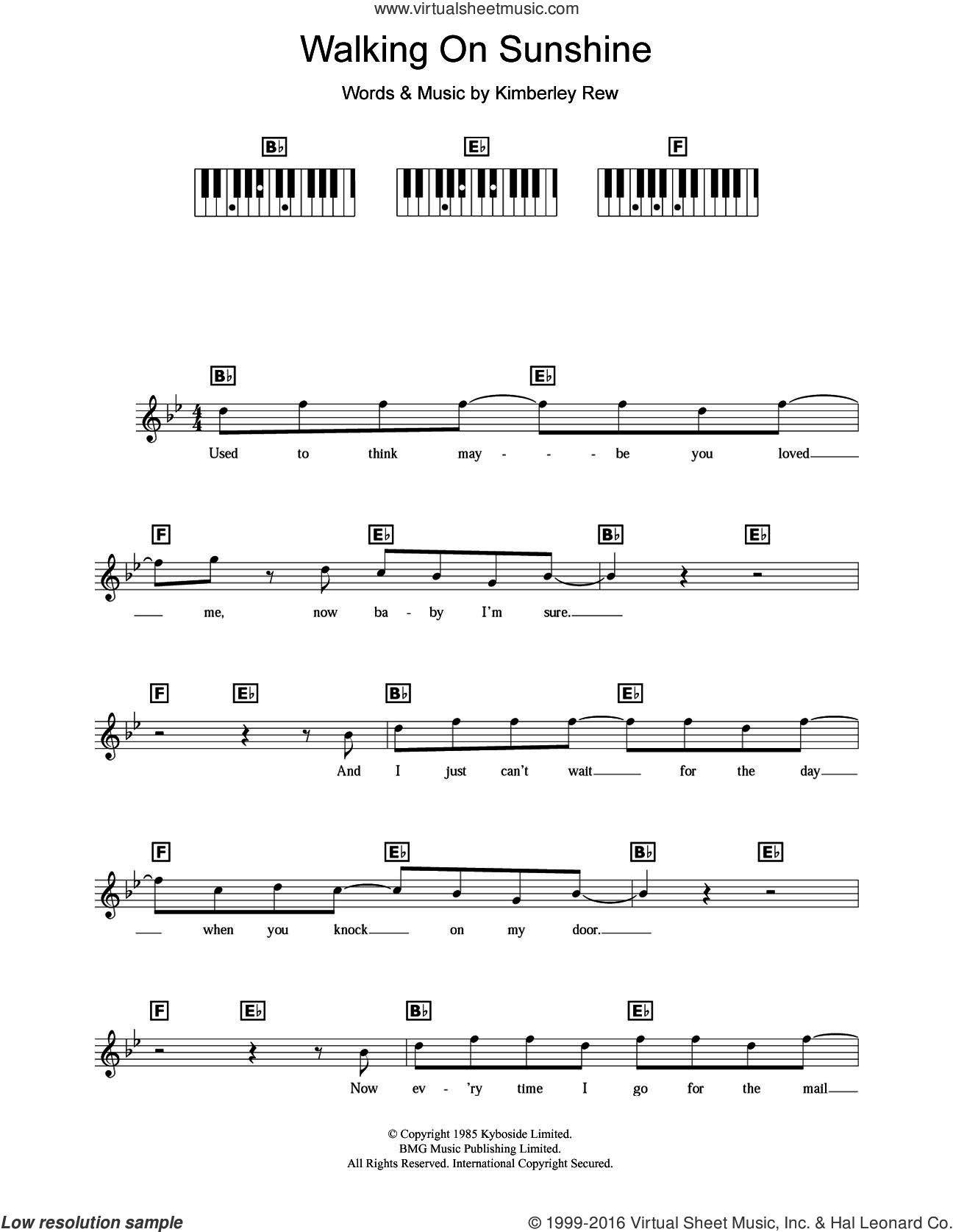 Walking On Sunshine sheet music for piano solo (chords, lyrics, melody) by Kimberley Rew and Katrina And The Waves. Score Image Preview.