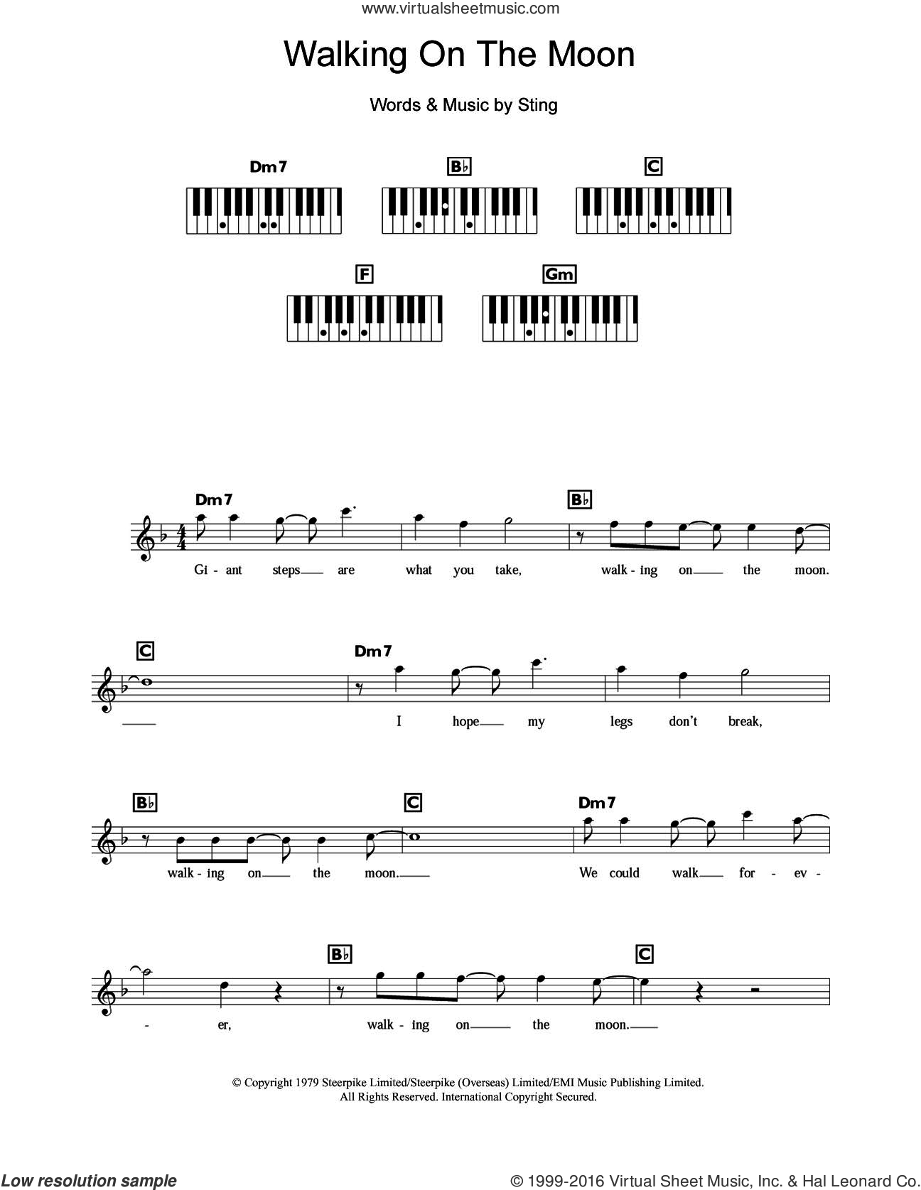 Walking On The Moon sheet music for piano solo (chords, lyrics, melody) by The Police and Sting, intermediate piano (chords, lyrics, melody)