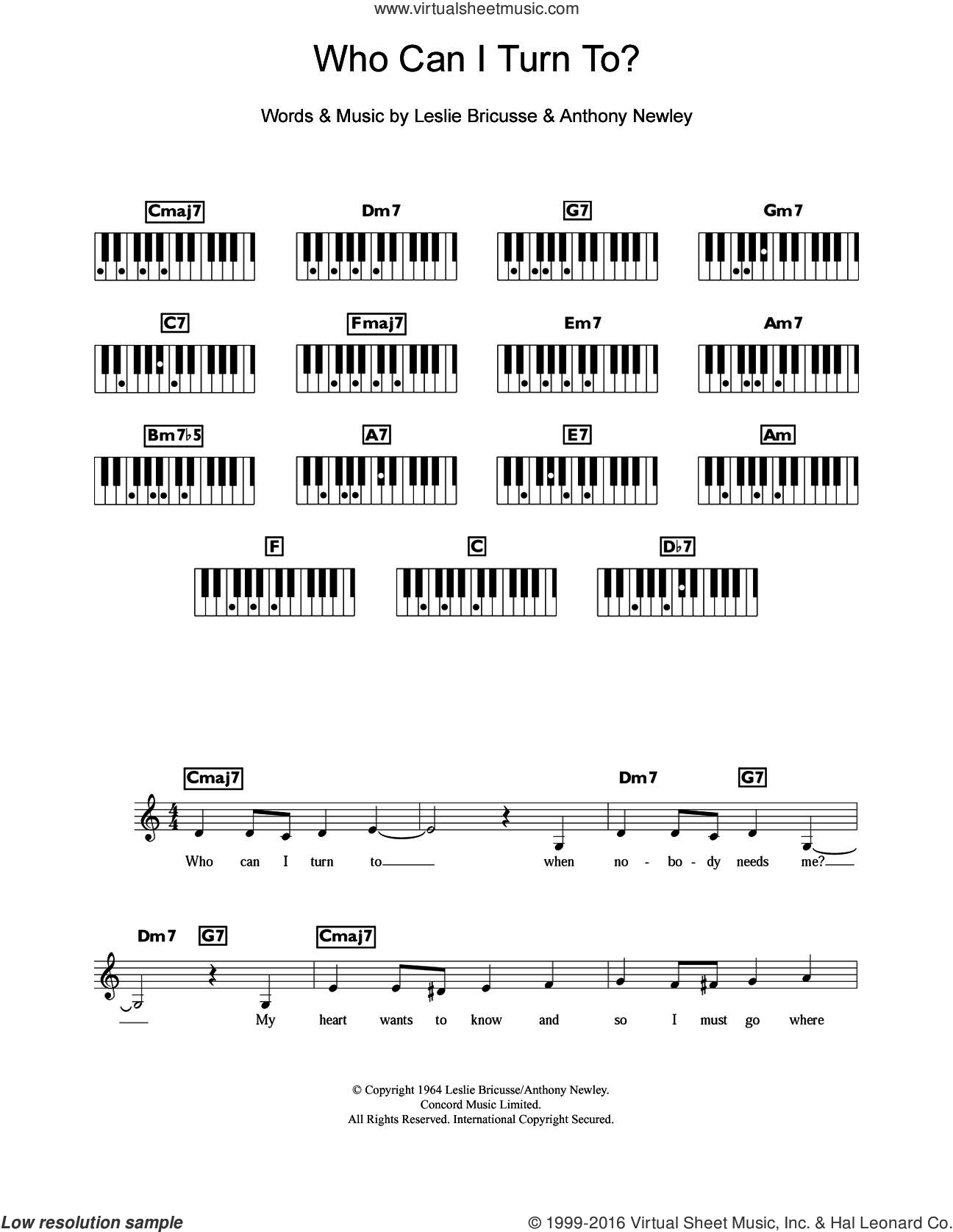 Who Can I Turn To? sheet music for piano solo (chords, lyrics, melody) by Tony Bennett, Anthony Newley and Leslie Bricusse, intermediate piano (chords, lyrics, melody)