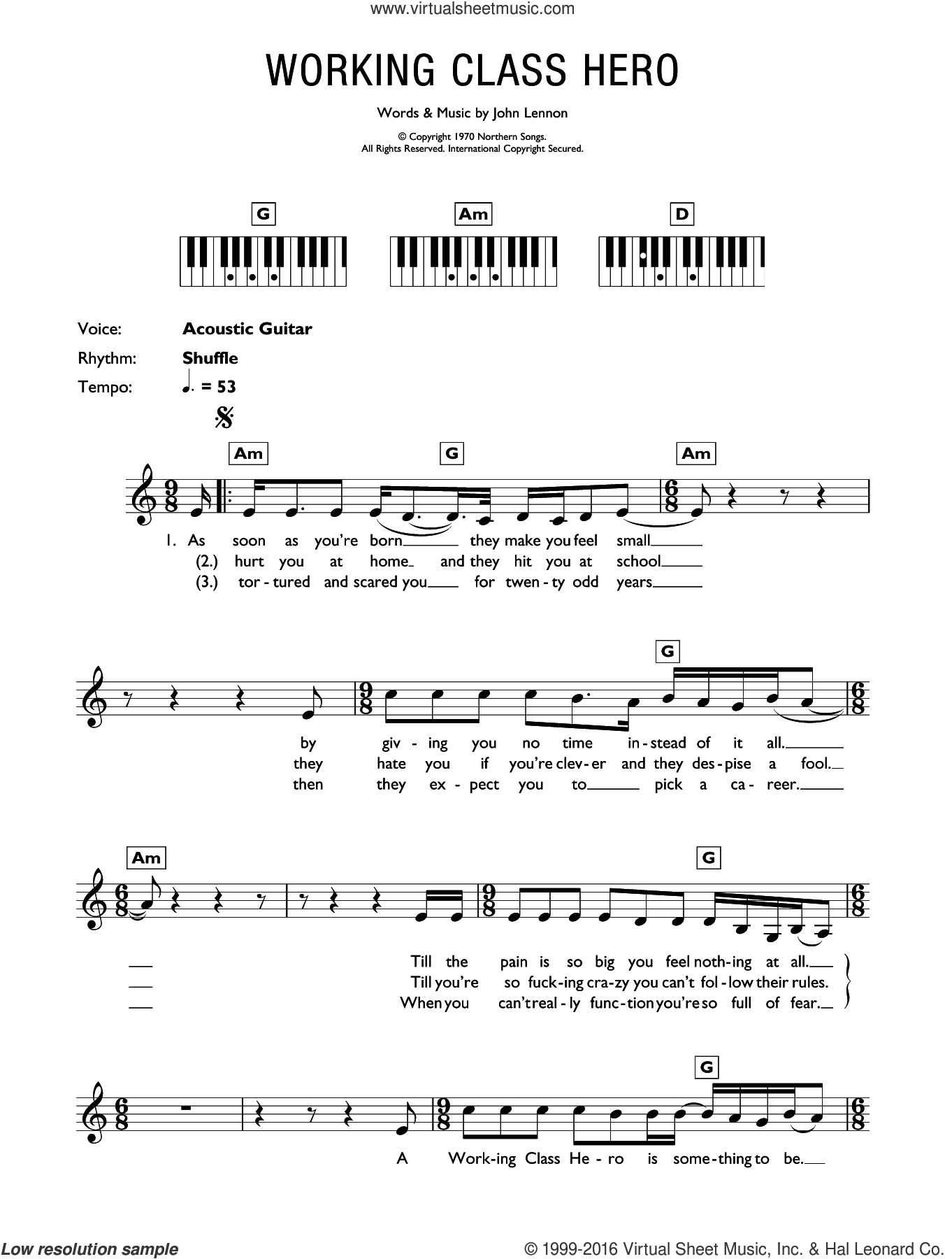 Working Class Hero sheet music for piano solo (chords, lyrics, melody) by John Lennon, intermediate piano (chords, lyrics, melody)