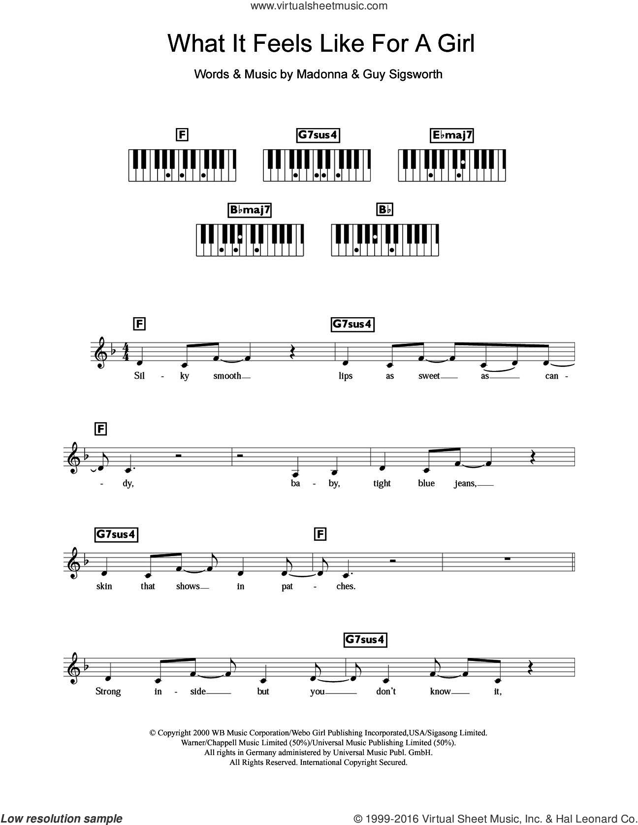 What It Feels Like For A Girl sheet music for piano solo (chords, lyrics, melody) by Madonna and Guy Sigsworth, intermediate piano (chords, lyrics, melody)