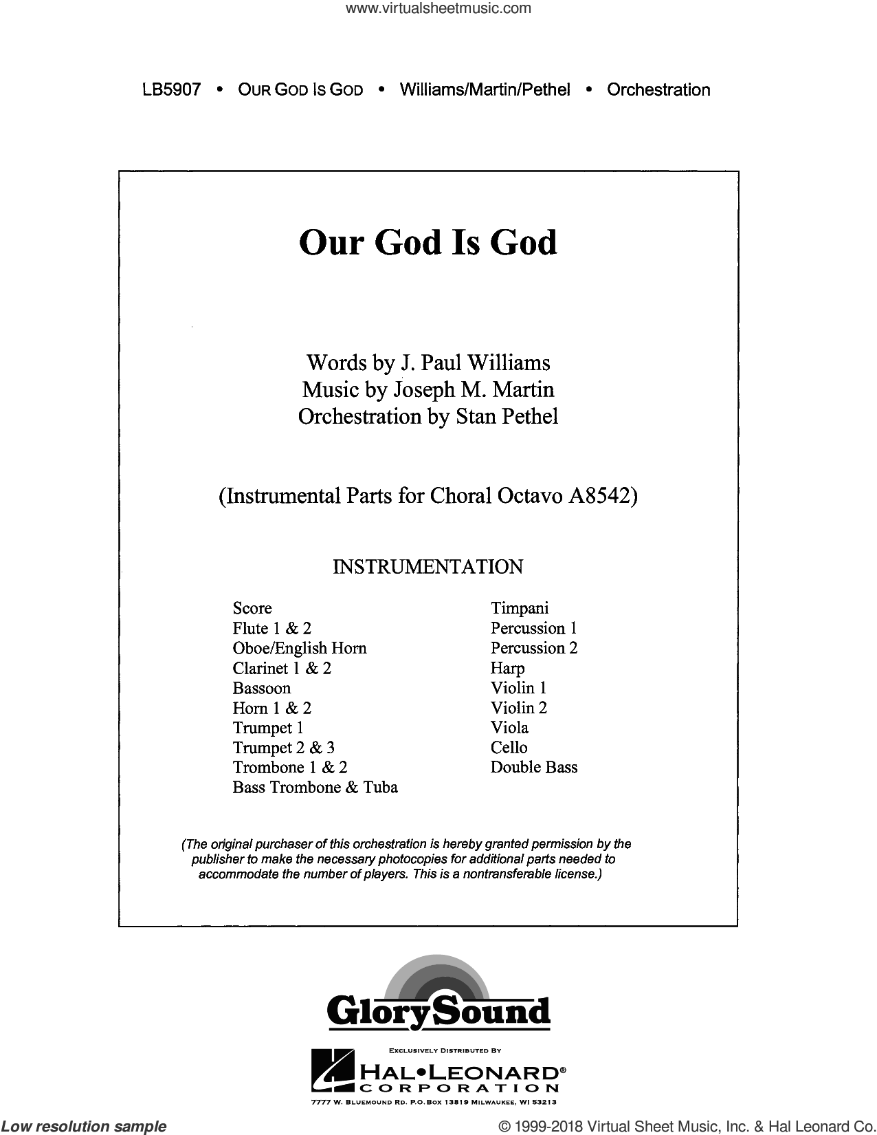 Our God Is God (COMPLETE) sheet music for orchestra/band by Joseph M. Martin and J. Paul Williams, intermediate skill level