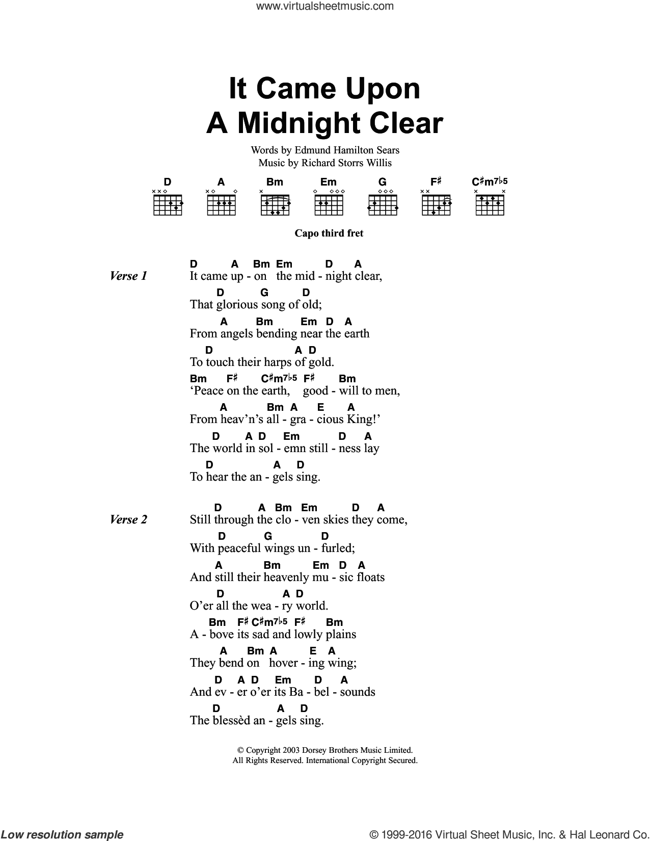 It Came Upon The Midnight Clear sheet music for guitar (chords) by Richard Storrs Willis, Miscellaneous and Edmund Hamilton Sears, Christmas carol score, intermediate guitar (chords). Score Image Preview.