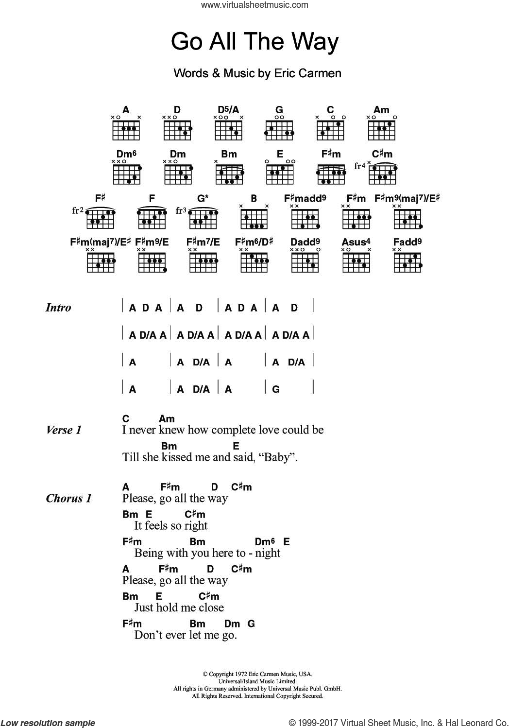 Raspberries Go All The Way Sheet Music For Guitar Chords
