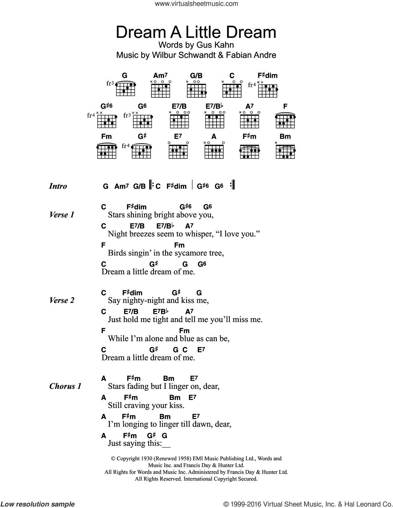 Dream A Little Dream Of Me sheet music for guitar (chords) by The Mamas & The Papas, Mama Cass, Fabian Andre, Gus Kahn and Wilbur Schwandt, intermediate skill level