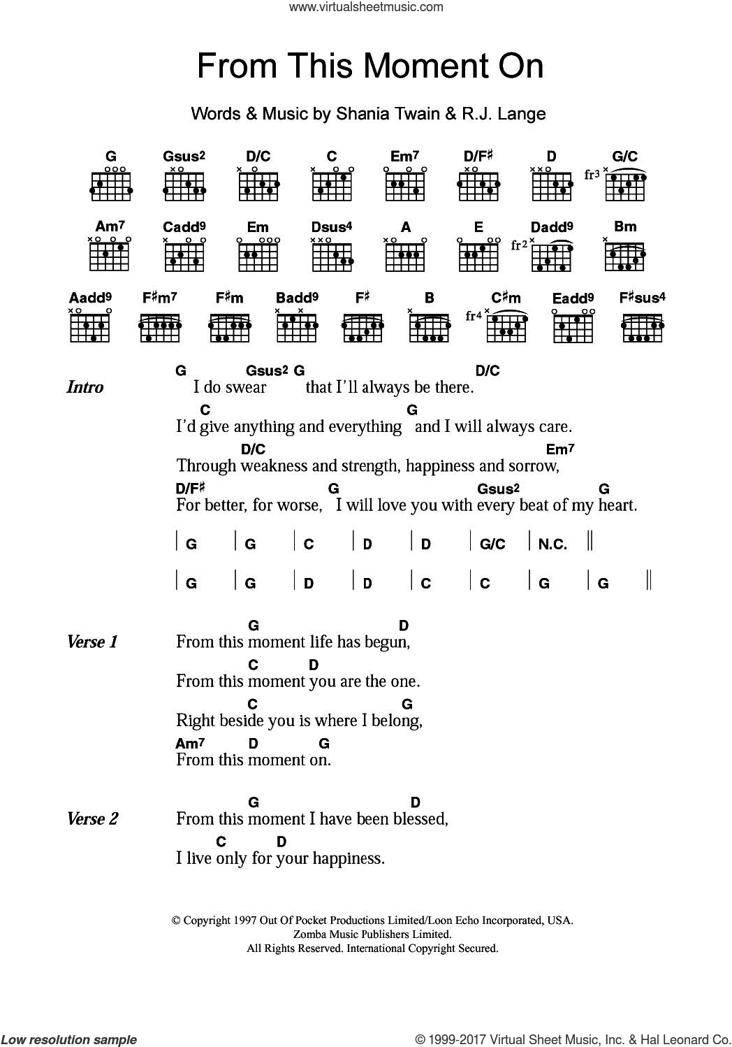 From This Moment On sheet music for guitar (chords) by Shania Twain and Robert John Lange, intermediate skill level