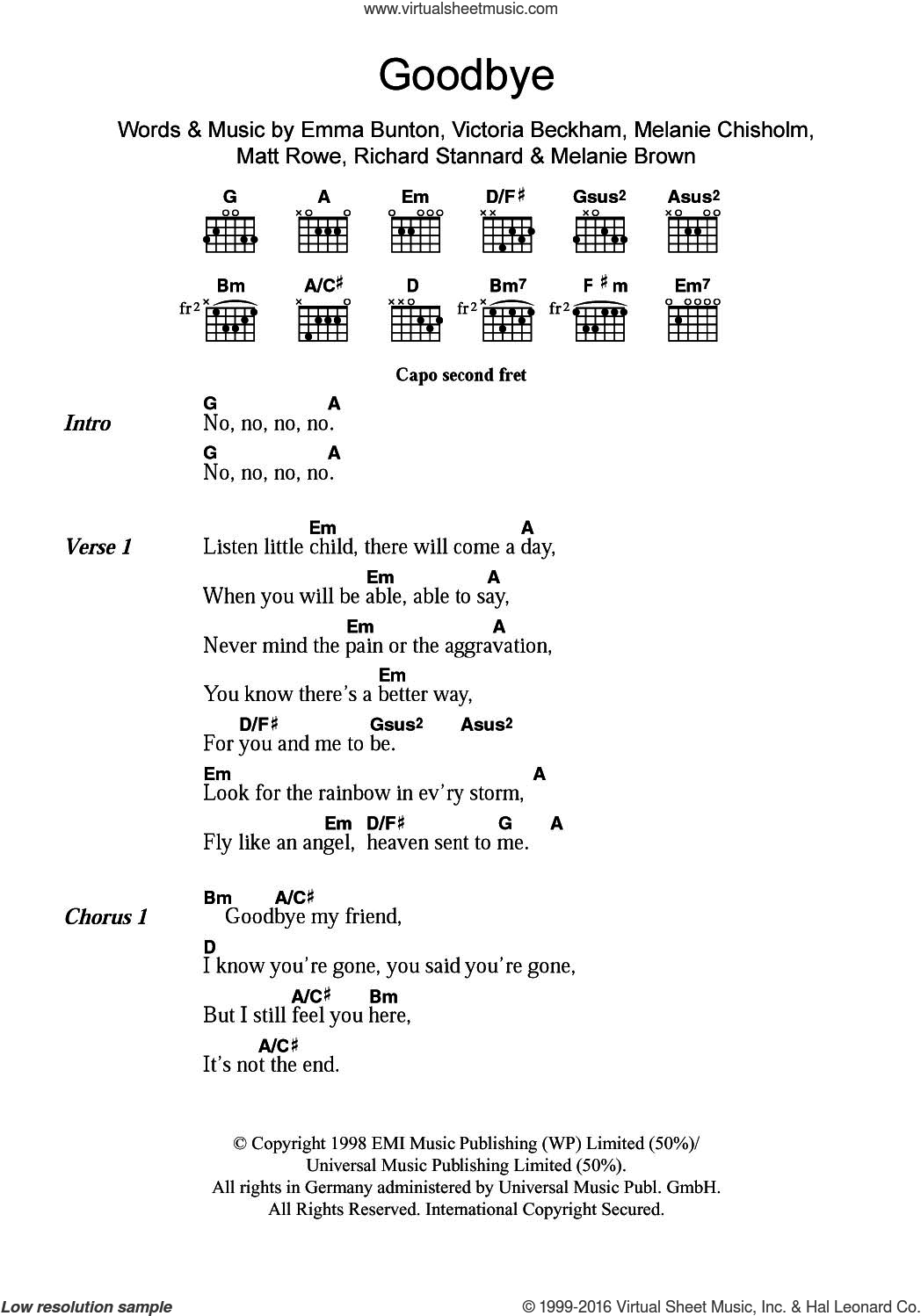 Goodbye sheet music for guitar (chords) by Spice Girls, Chisholm Melanie, Emma Bunton and Richard Stannard. Score Image Preview.