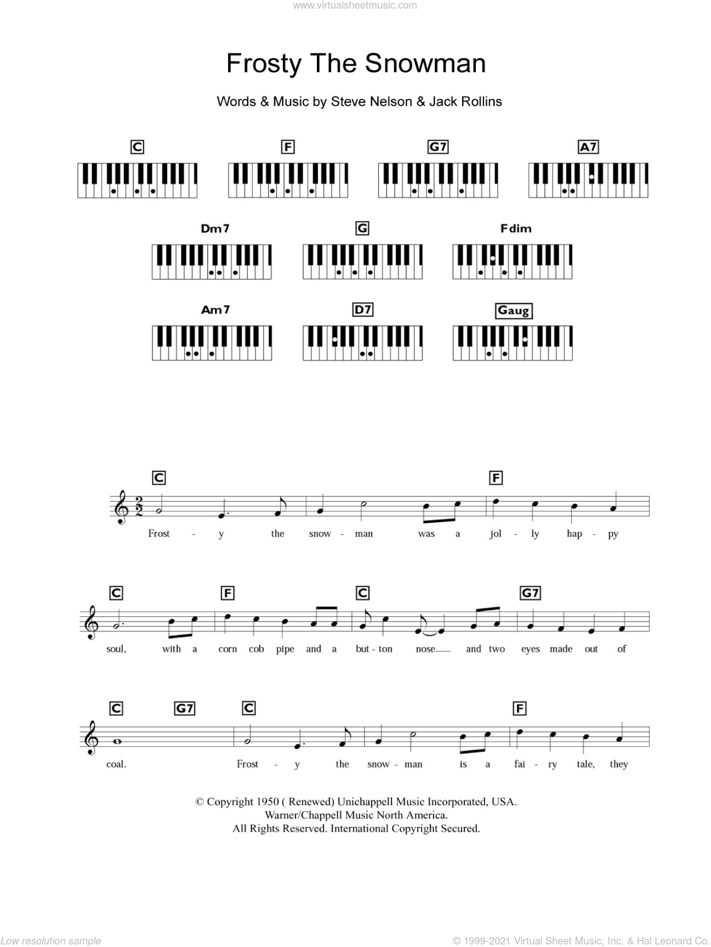 Frosty The Snowman sheet music for piano solo (chords, lyrics, melody) by The Ronettes, Jack Rollins and Steve Nelson, intermediate piano (chords, lyrics, melody). Score Image Preview.
