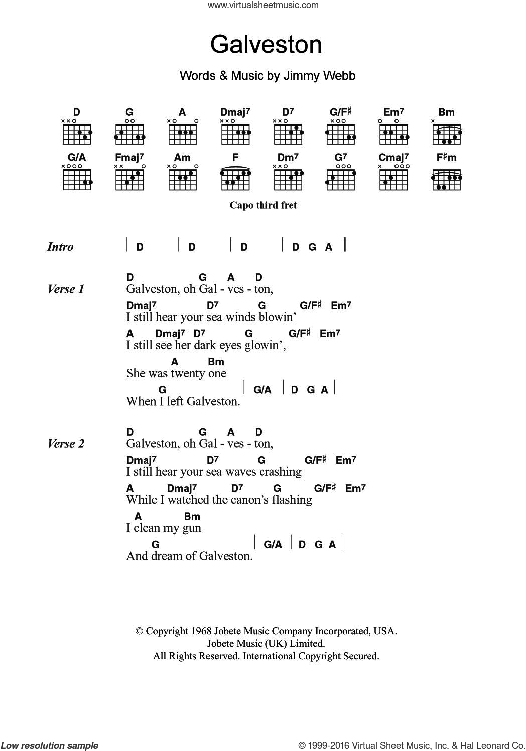 Galveston sheet music for guitar (chords) by Glen Campbell and Jimmy Webb. Score Image Preview.