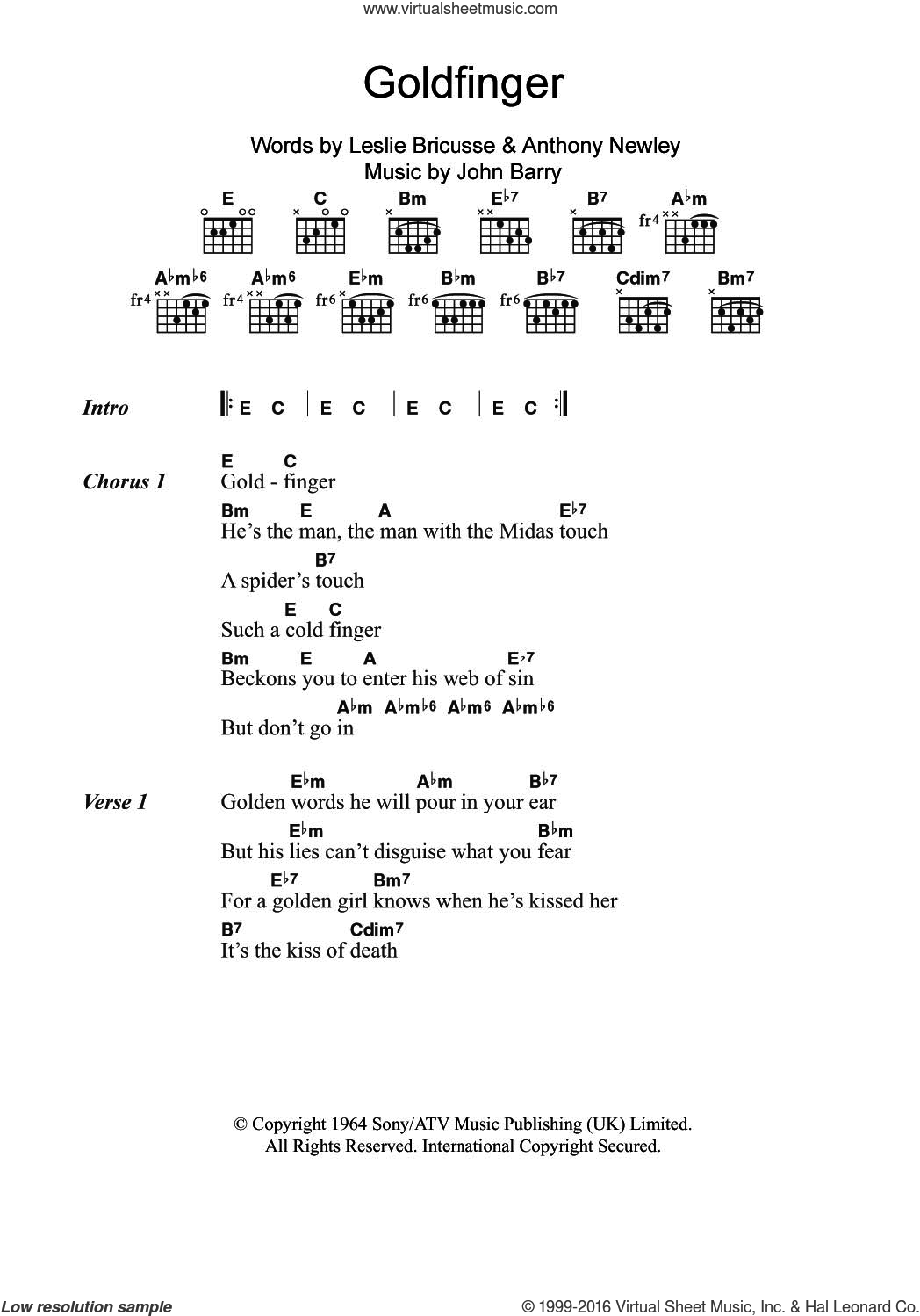 Goldfinger (from James Bond: 'Goldfinger') sheet music for guitar (chords) by Shirley Bassey, Anthony Newley, John Barry and Leslie Bricusse, intermediate skill level