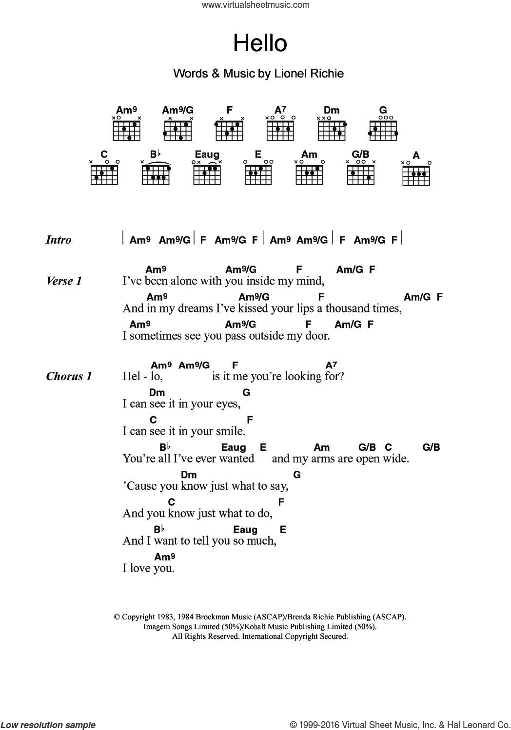 Hello sheet music for guitar (chords) by Lionel Richie