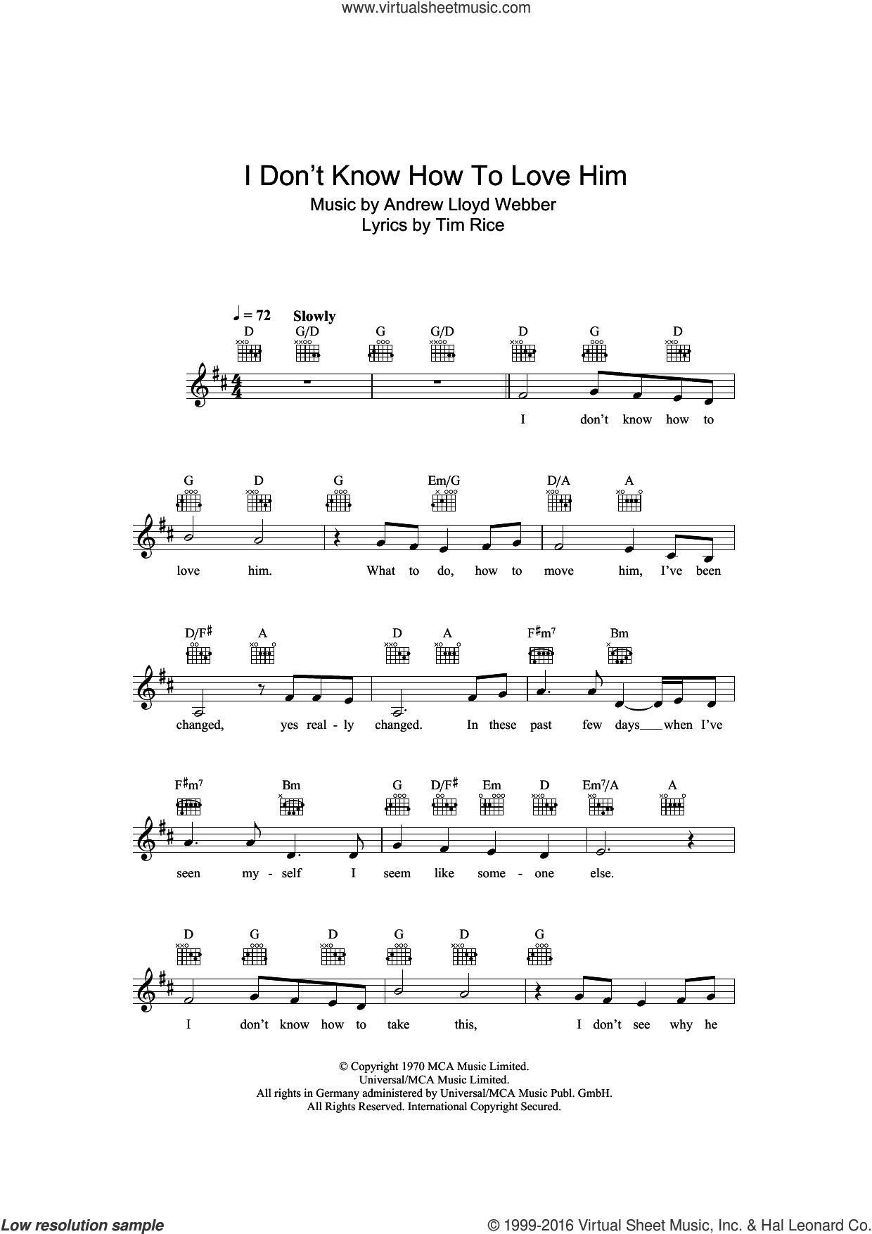 I Don't Know How To Love Him (from Jesus Christ Superstar) sheet music for voice and other instruments (fake book) by Andrew Lloyd Webber and Tim Rice, intermediate. Score Image Preview.