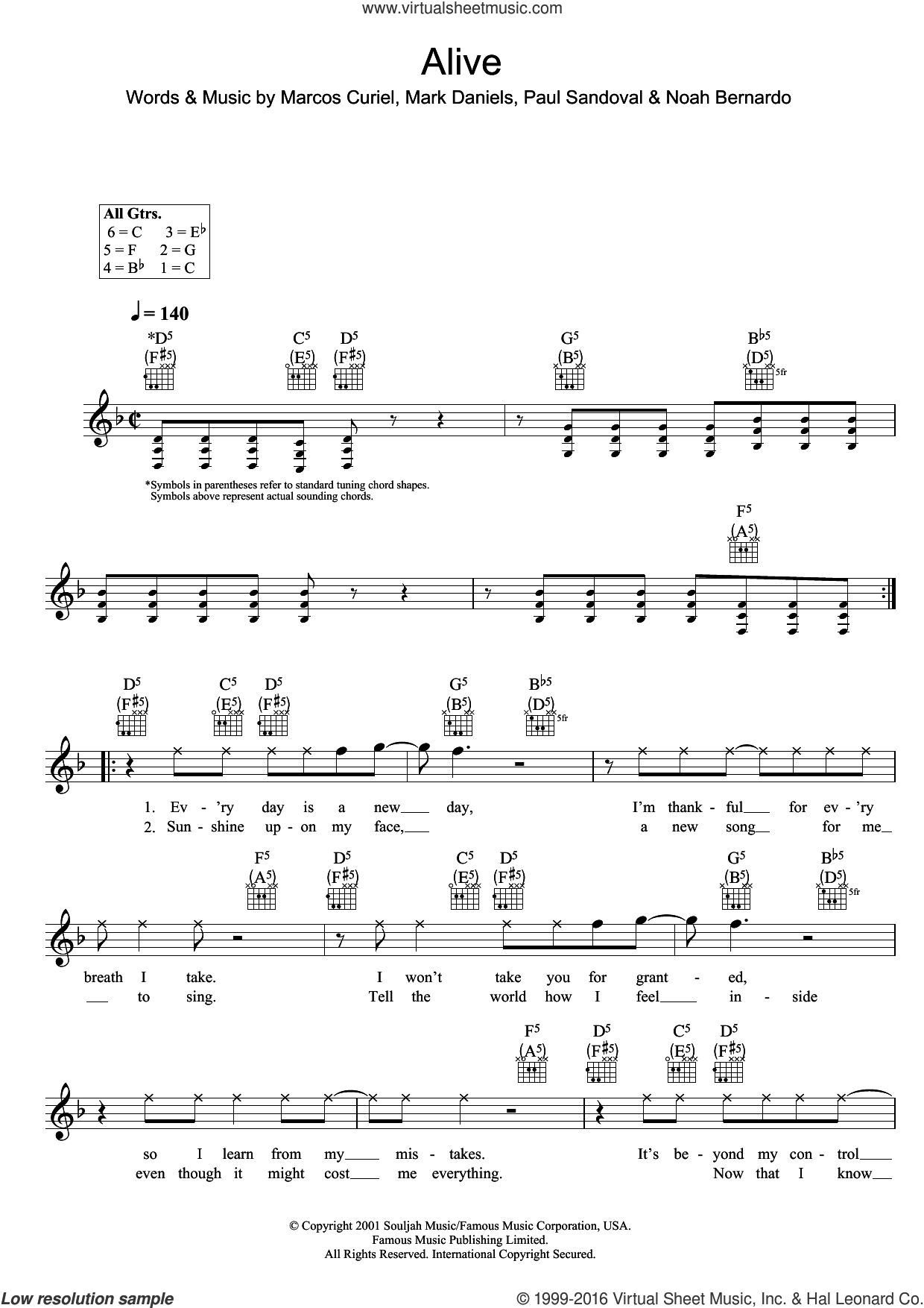 Alive sheet music for voice and other instruments (fake book) by P.O.D., Marcos Curiel, Mark Daniels, Noah Bernardo and Paul Sandoval, intermediate skill level