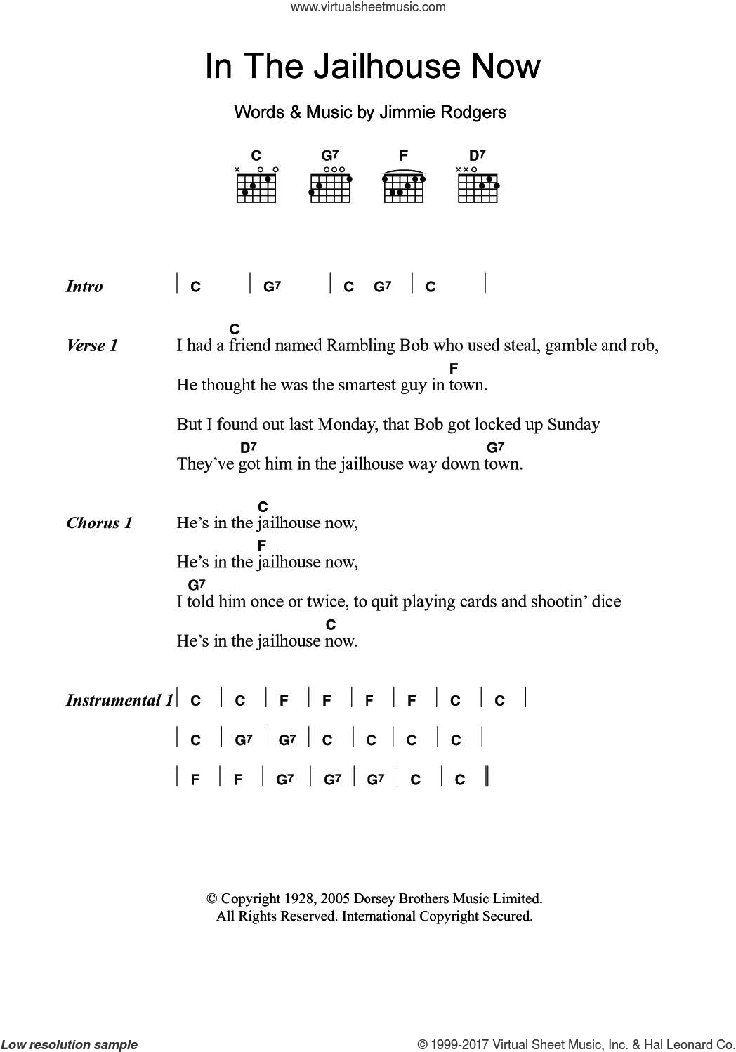 In The Jailhouse Now sheet music for guitar (chords) by Jimmie Rodgers, intermediate skill level
