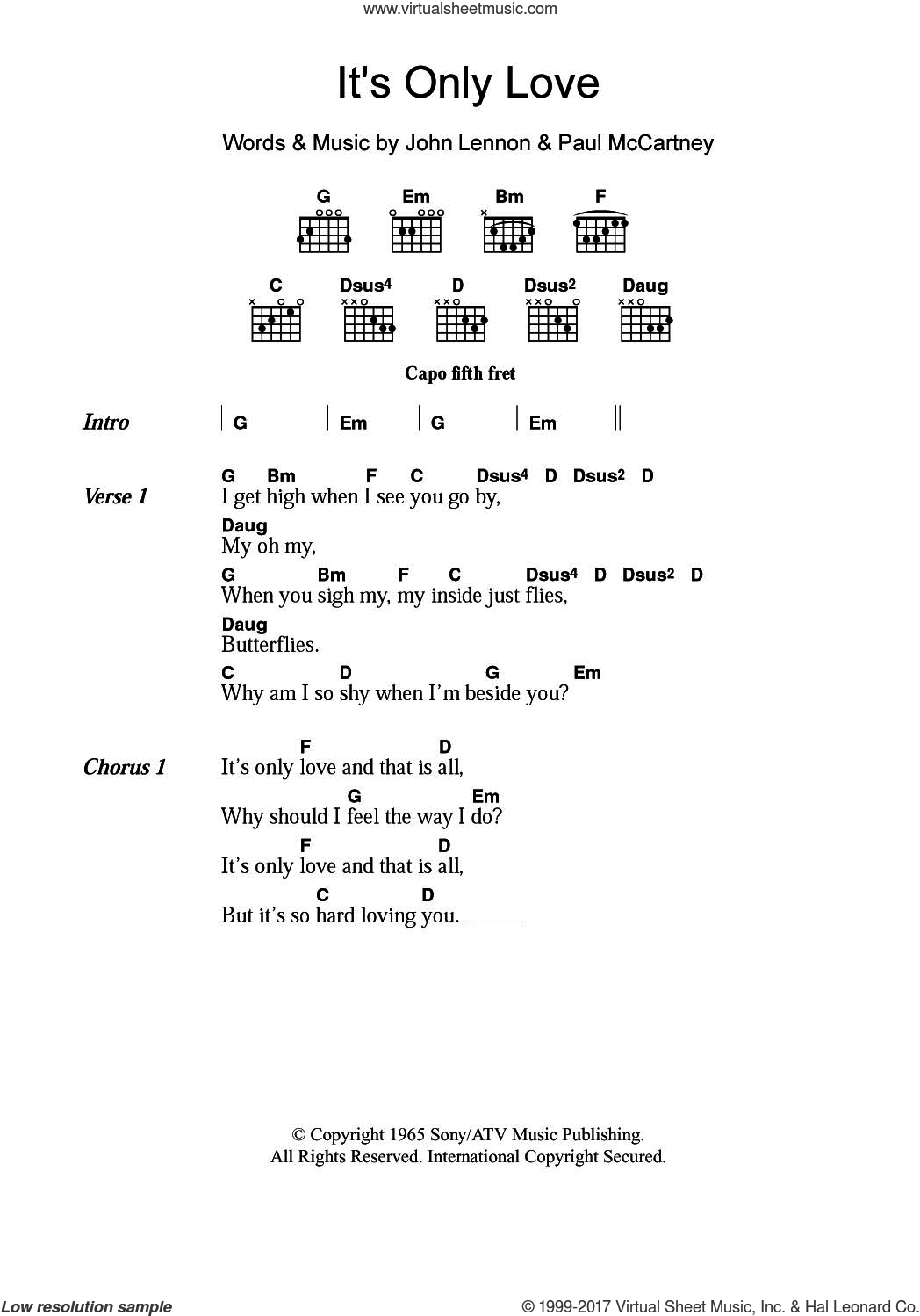 It's Only Love sheet music for guitar (chords) by The Beatles, John Lennon and Paul McCartney, intermediate skill level