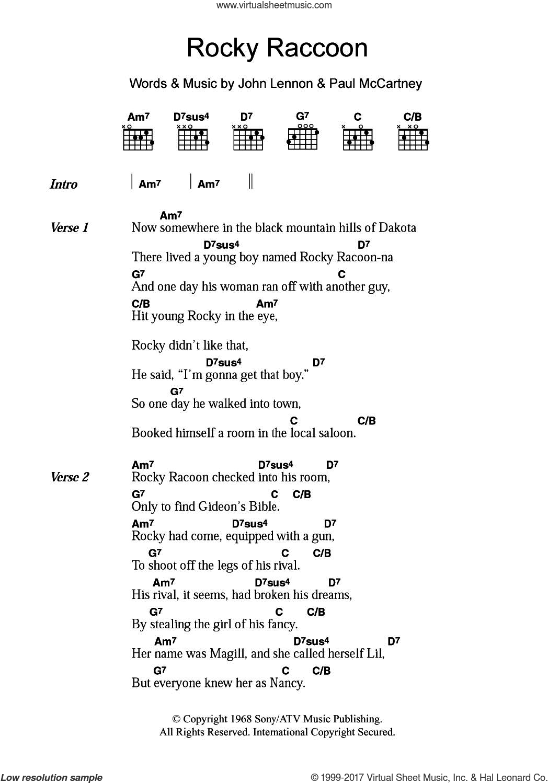 Beatles Rocky Raccoon Sheet Music For Guitar Chords Pdf