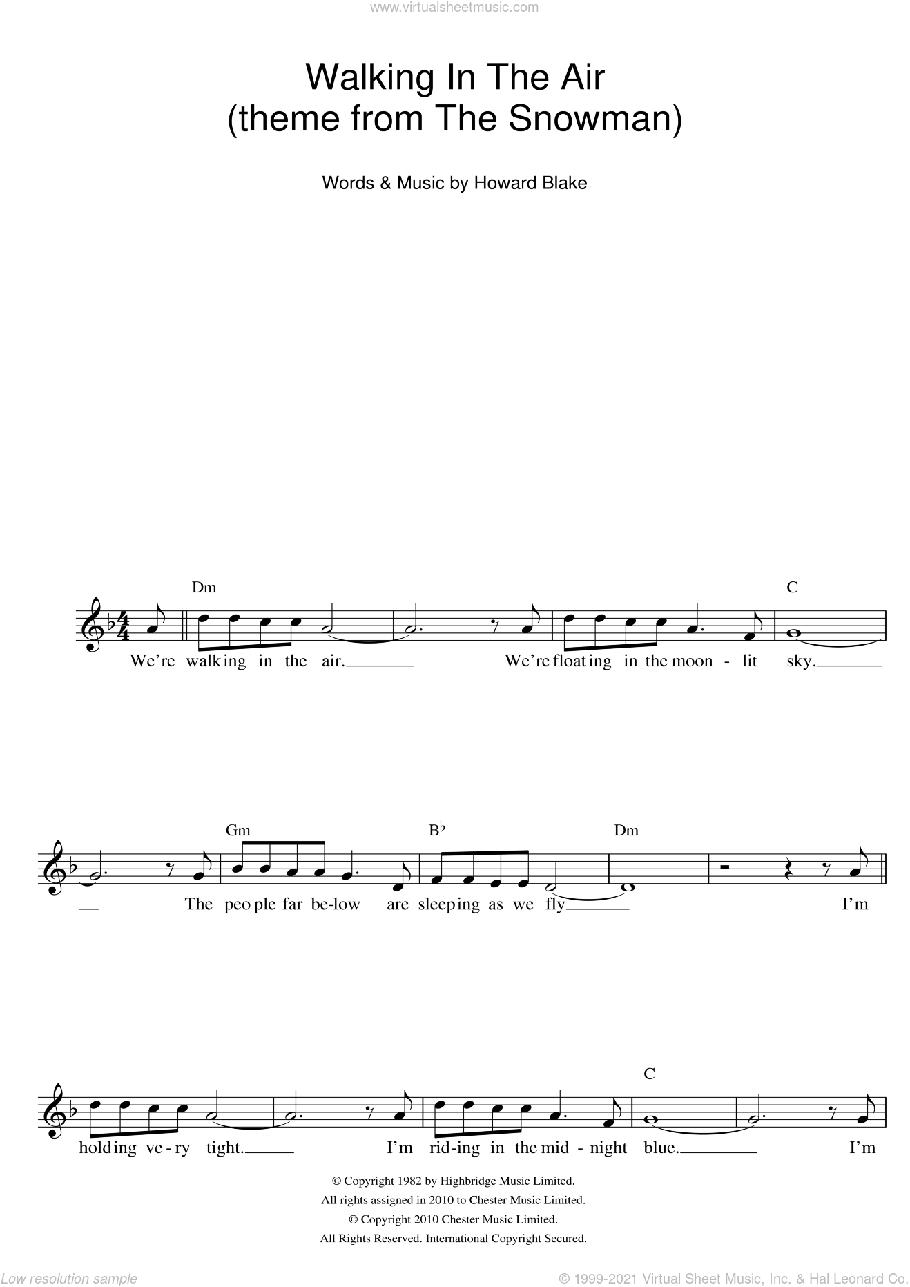 Walking In The Air (theme from The Snowman) sheet music for voice and other instruments (fake book) by Howard Blake. Score Image Preview.