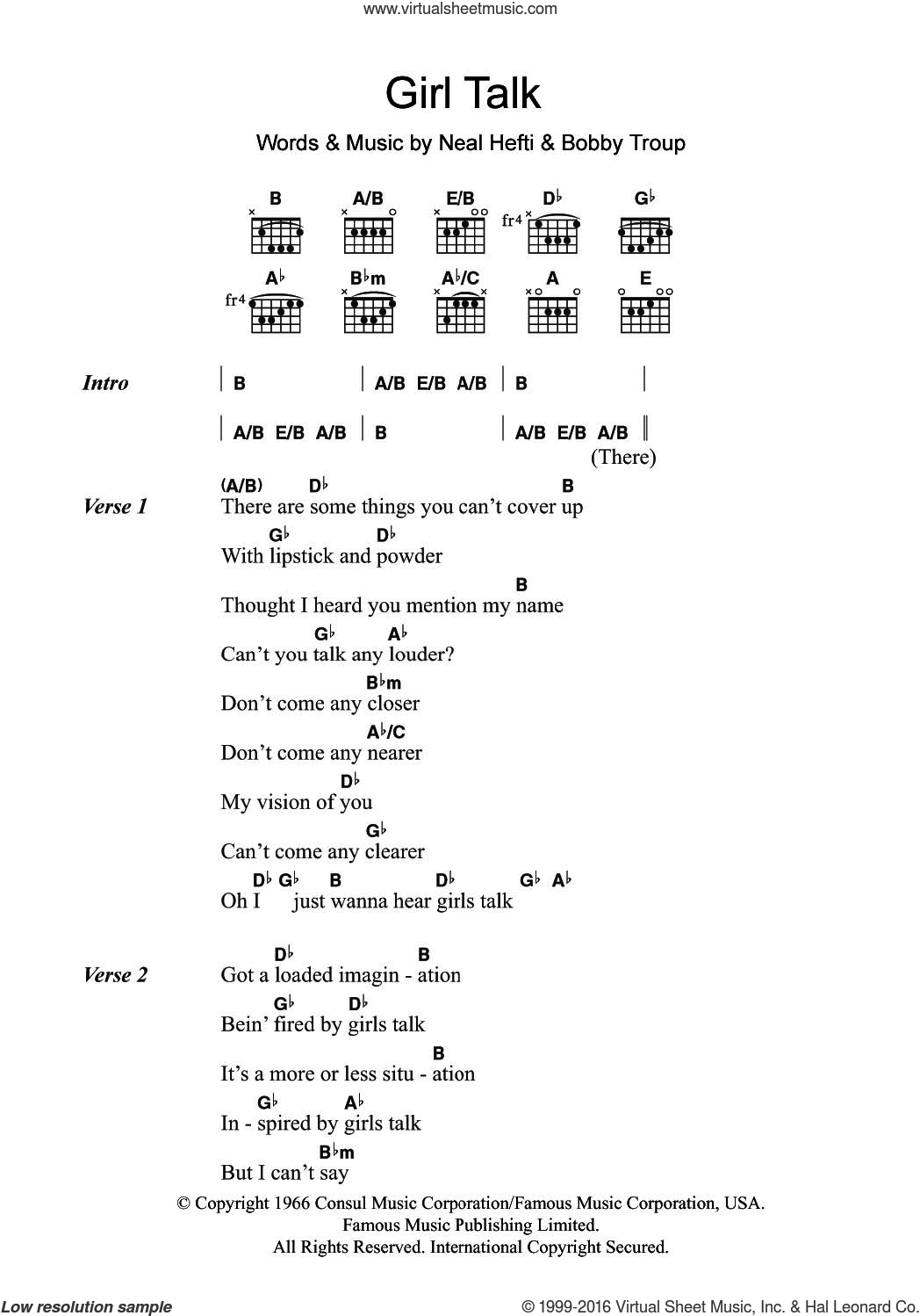 Girl Talk sheet music for guitar (chords) by Tony Bennett, Bobby Troup and Neal Hefti, intermediate skill level