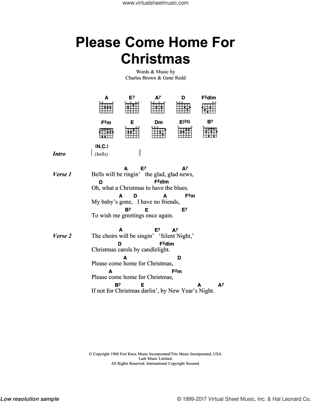 Brown - Please Come Home For Christmas sheet music for guitar (chords)