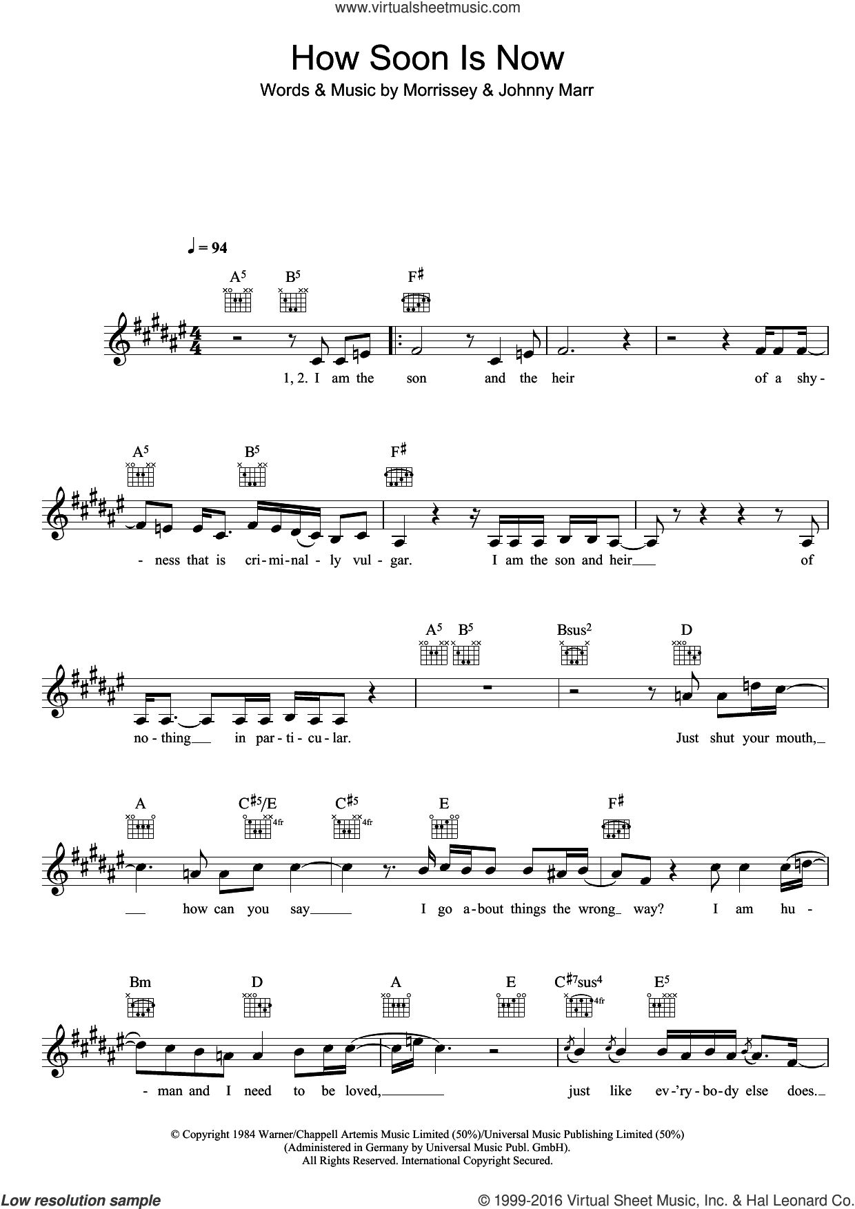How Soon Is Now? sheet music for voice and other instruments (fake book) by Steven Morrissey, The Smiths and Johnny Marr. Score Image Preview.