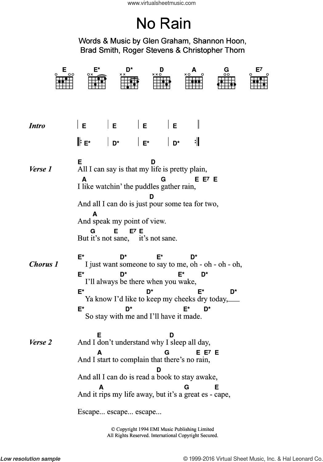 No Rain sheet music for guitar (chords) by Shannon Hoon, Blind Melon and Brad Smith. Score Image Preview.
