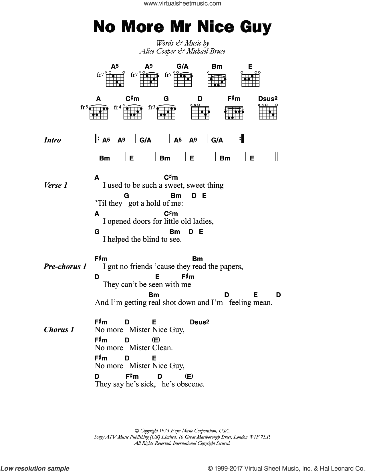 Cooper No More Mr Nice Guy Sheet Music For Guitar Chords
