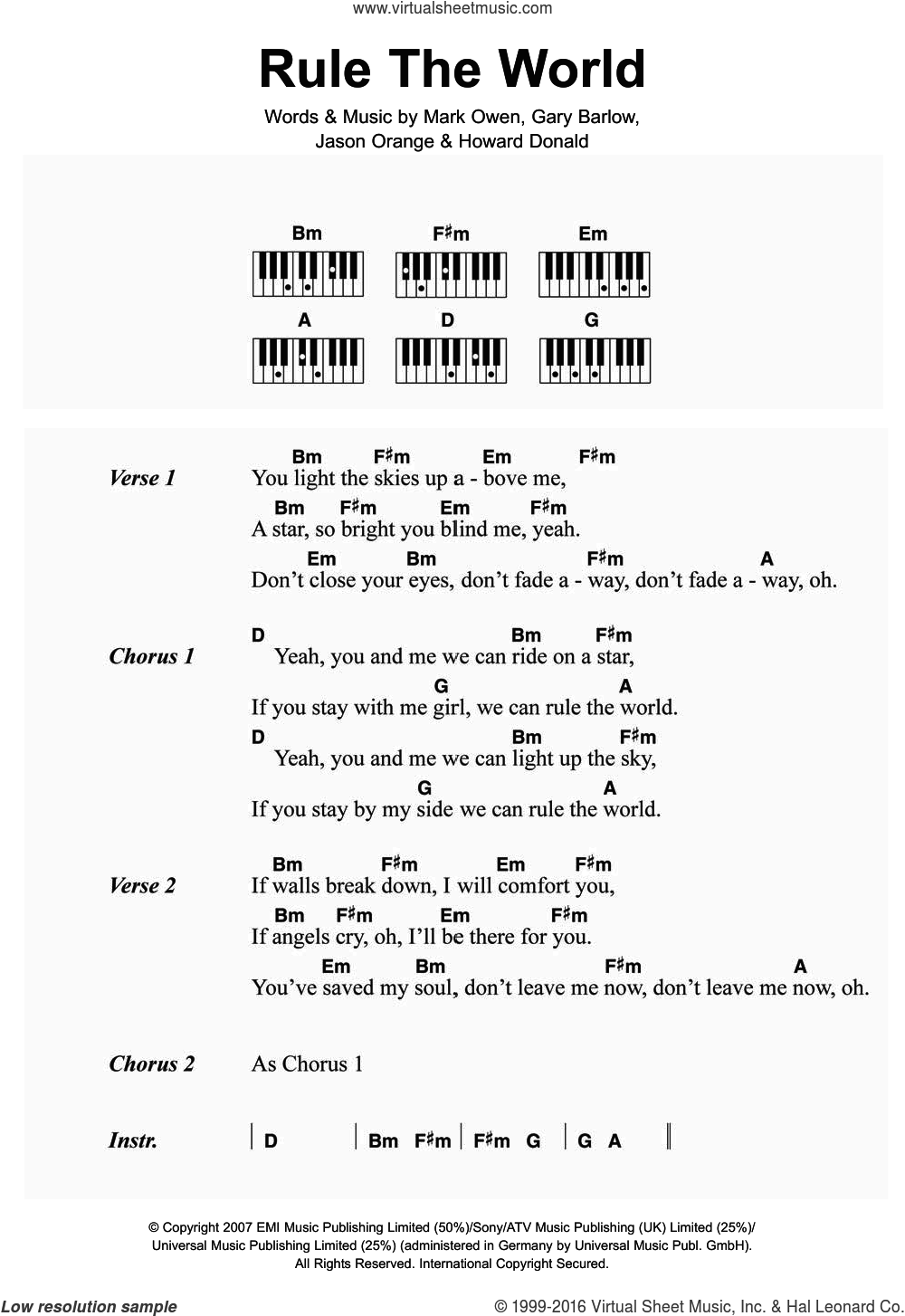 Rule The World (from Stardust) sheet music for piano solo (chords, lyrics, melody) by Mark Owen, Take That and Gary Barlow. Score Image Preview.