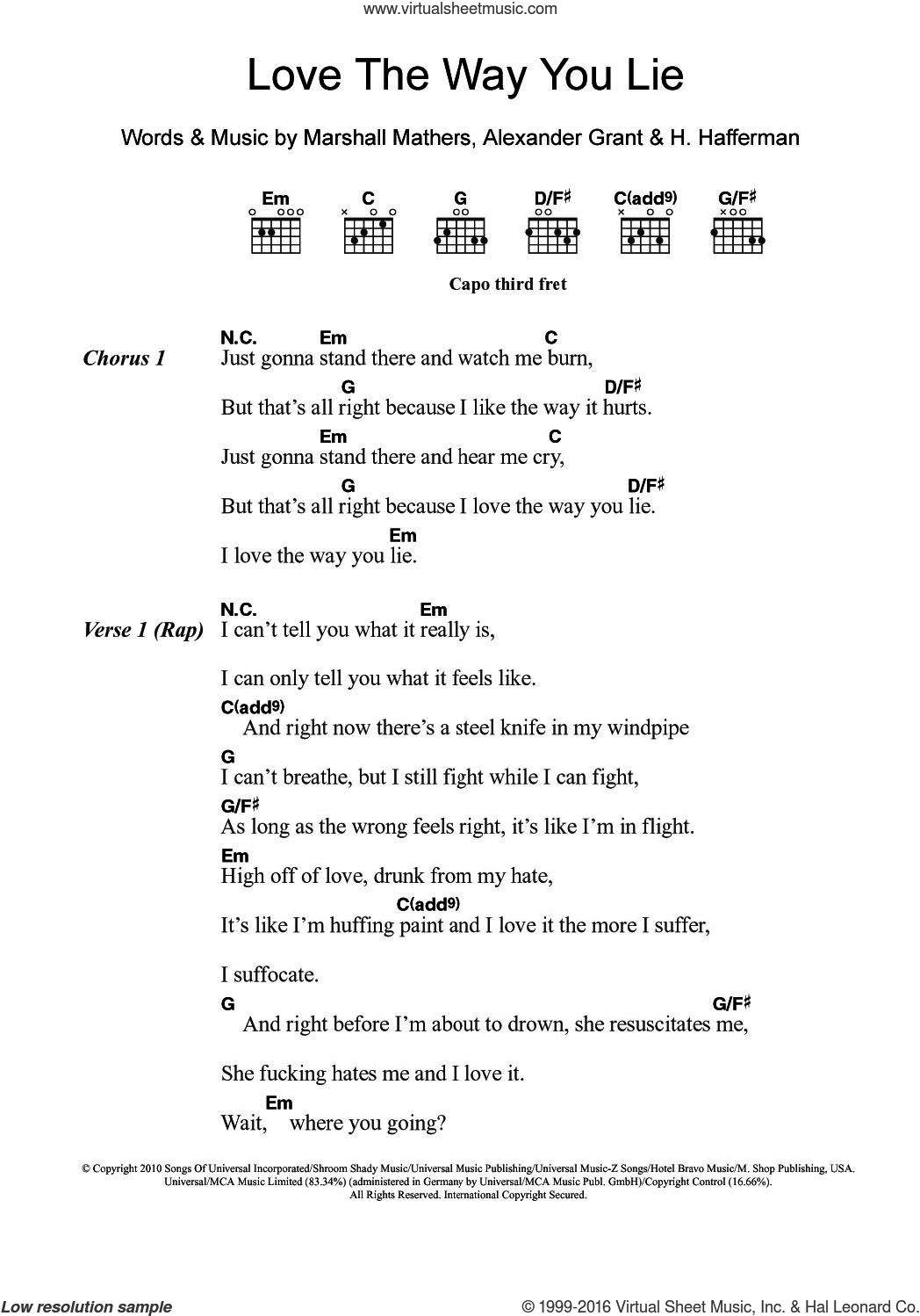 Love The Way You Lie (featuring Rihanna) sheet music for guitar (chords) by Eminem, Rihanna, Alexander Grant, H. Hafferman and Marshall Mathers, intermediate skill level