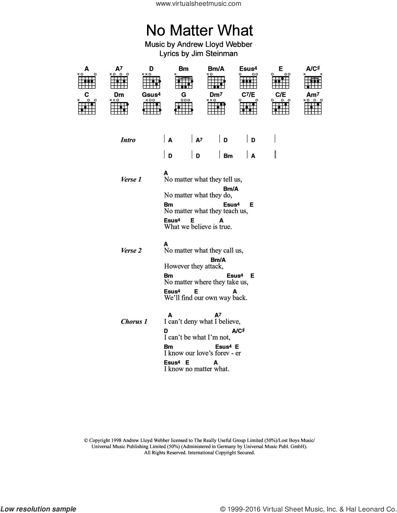 No Matter What (from Whistle Down The Wind) sheet music for guitar (chords) by Boyzone, Andrew Lloyd Webber and Jim Steinman, intermediate skill level