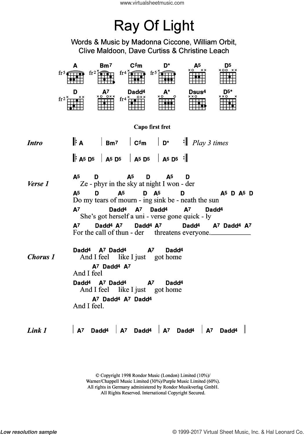 Madonna Ray Of Light Sheet Music For Guitar Chords Pdf