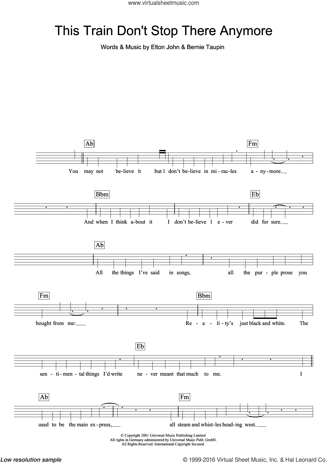 This Train Don't Stop There Anymore sheet music for voice and other instruments (fake book) by Elton John and Bernie Taupin, intermediate voice. Score Image Preview.