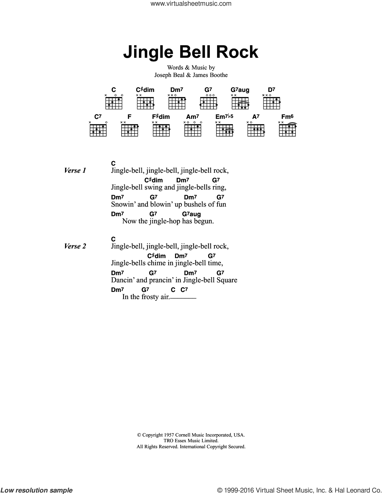 Jingle Bell Rock sheet music for guitar (chords) by Chubby Checker and Joe Beal, Christmas carol score, intermediate guitar (chords). Score Image Preview.