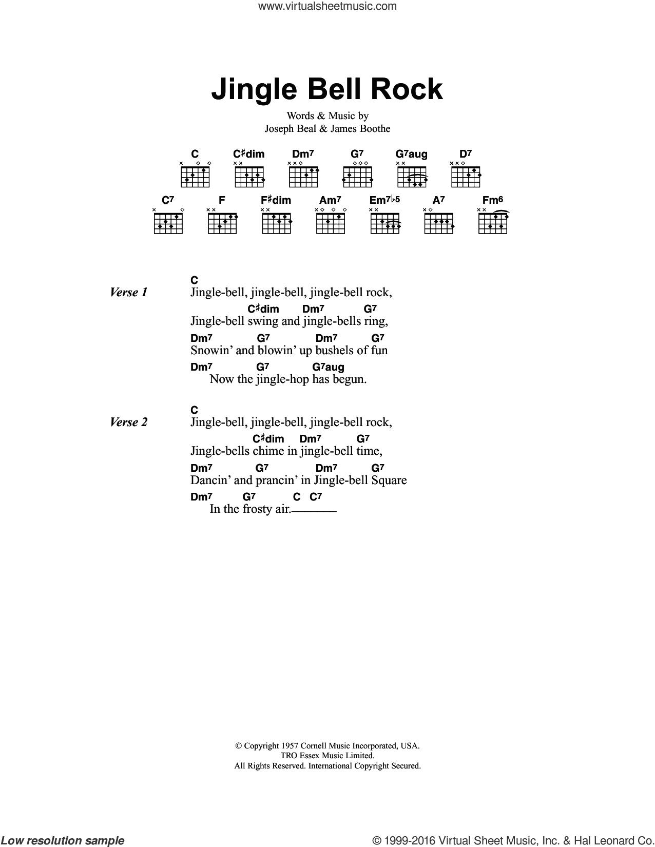 Checker - Jingle Bell Rock sheet music for guitar (chords) [PDF]