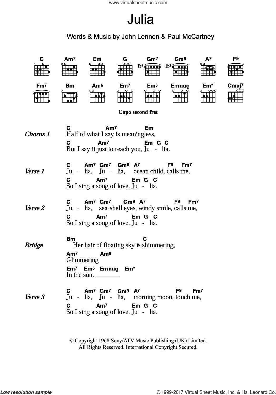 Beatles Julia Sheet Music For Guitar Chords Pdf