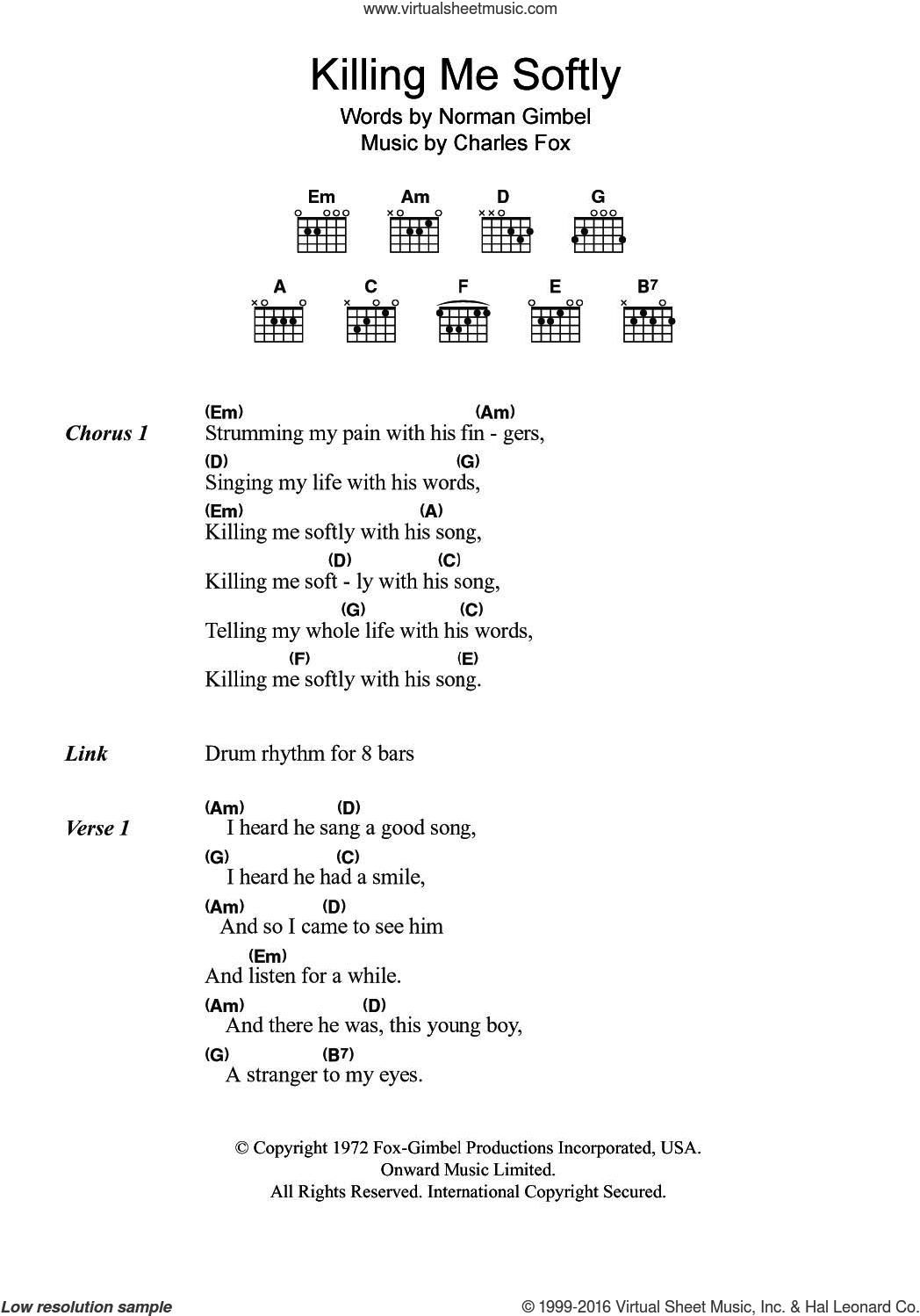 Gimbel Killing Me Softly Sheet Music For Guitar Chords Pdf