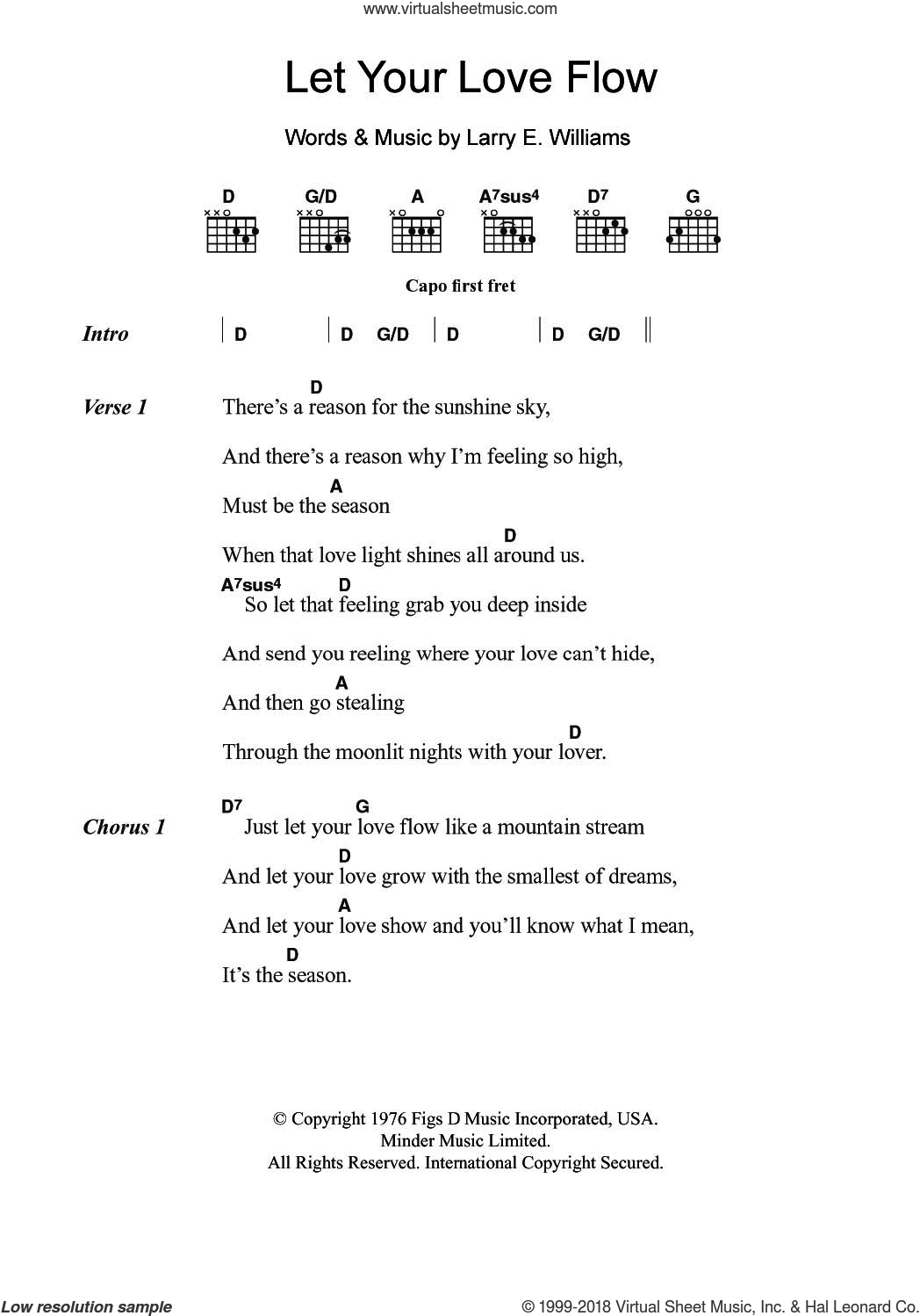 Let Your Love Flow sheet music for guitar (chords) by The Bellamy Brothers and Larry E. Williams, intermediate skill level