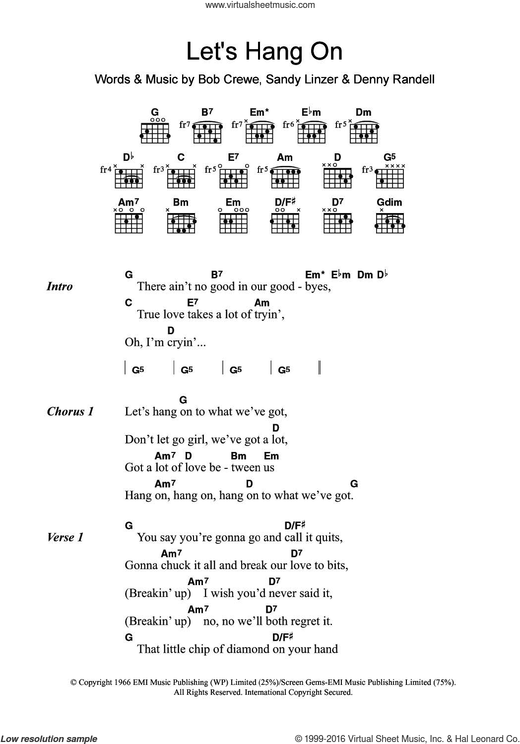 Let's Hang On sheet music for guitar (chords) by The Four Seasons, Bob Crewe, Denny Randell and Sandy Linzer, intermediate. Score Image Preview.