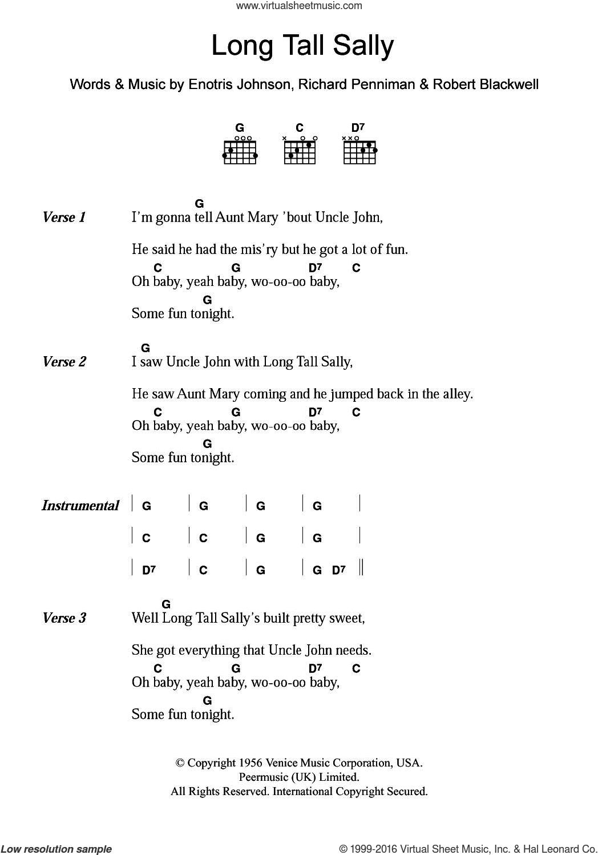 Long Tall Sally sheet music for guitar (chords) by Little Richard, Enotris Johnson, Richard Penniman and Robert Blackwell, intermediate skill level
