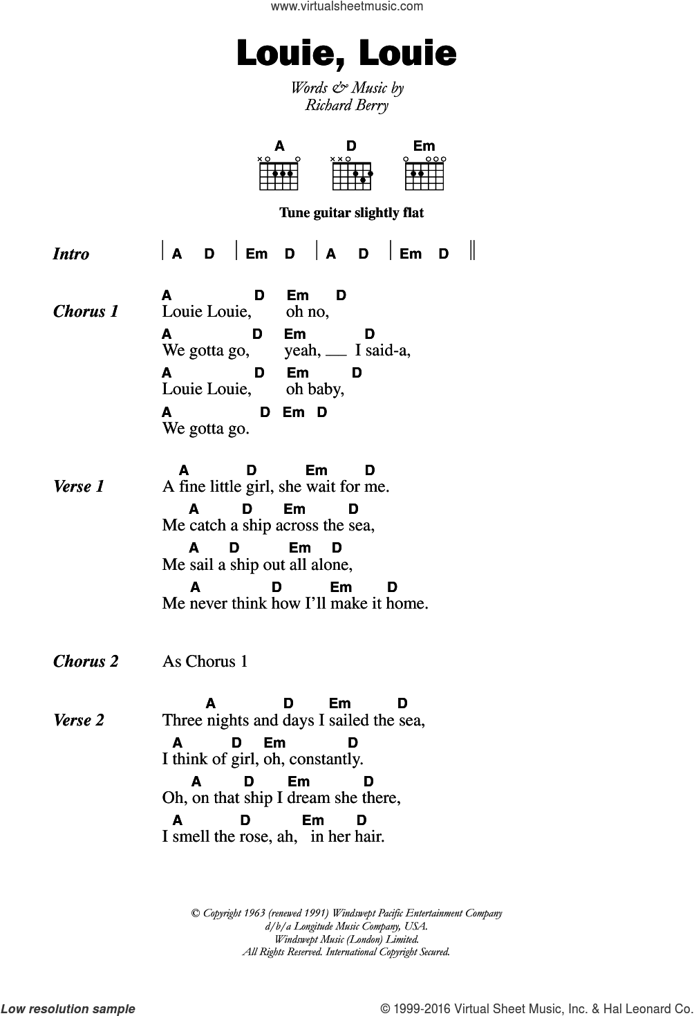 Louie, Louie sheet music for guitar (chords) by The Kingsmen and Richard Berry, intermediate skill level