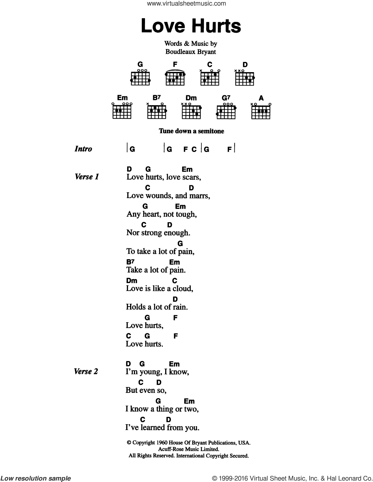Love Hurts sheet music for guitar (chords) by The Everly Brothers, Nazareth and Boudleaux Bryant, intermediate. Score Image Preview.