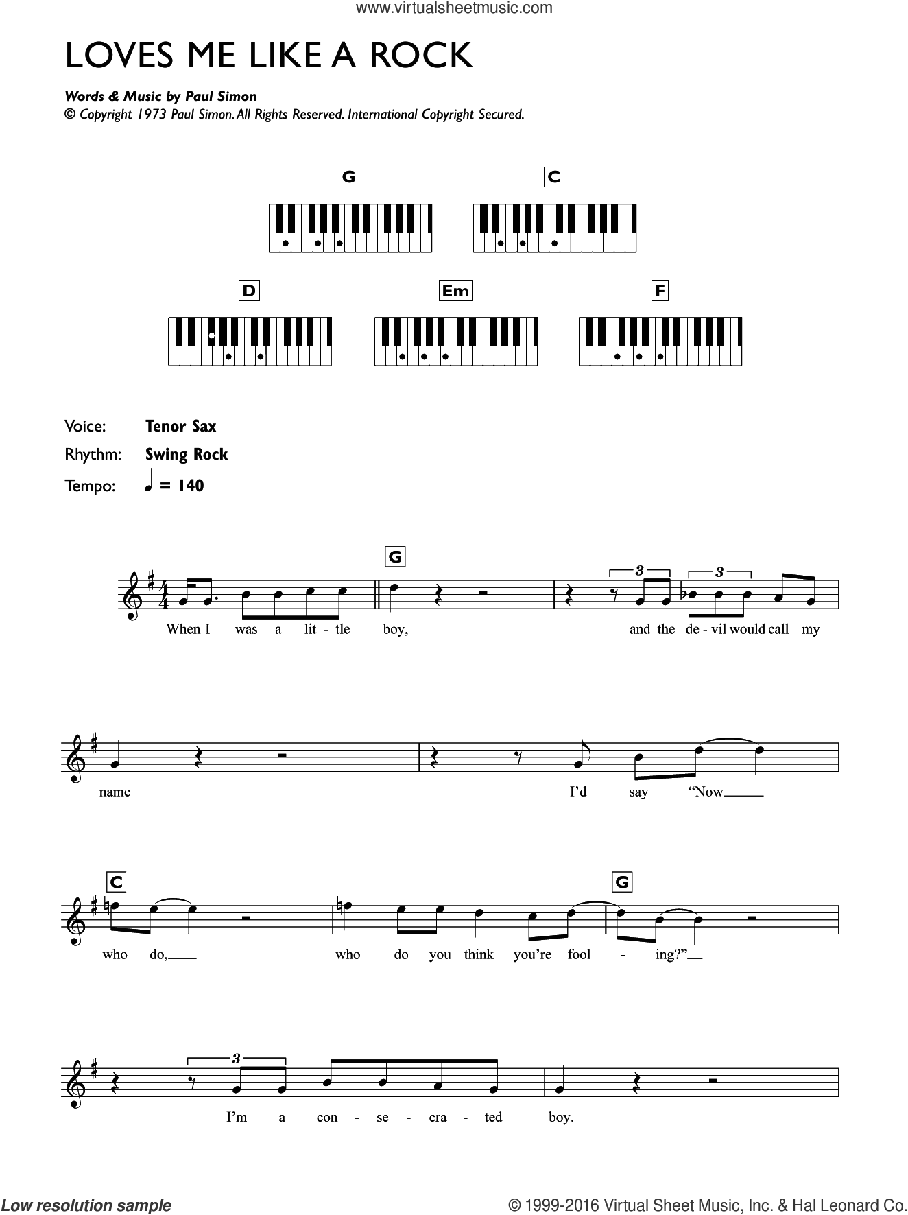 Loves Me Like A Rock sheet music for piano solo (chords, lyrics, melody) by Paul Simon. Score Image Preview.