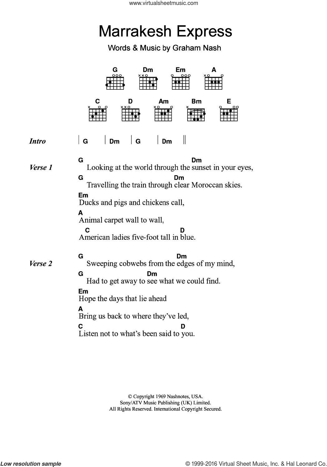 Marrakesh Express sheet music for guitar (chords) by Crosby, Stills & Nash and Graham Nash, intermediate skill level