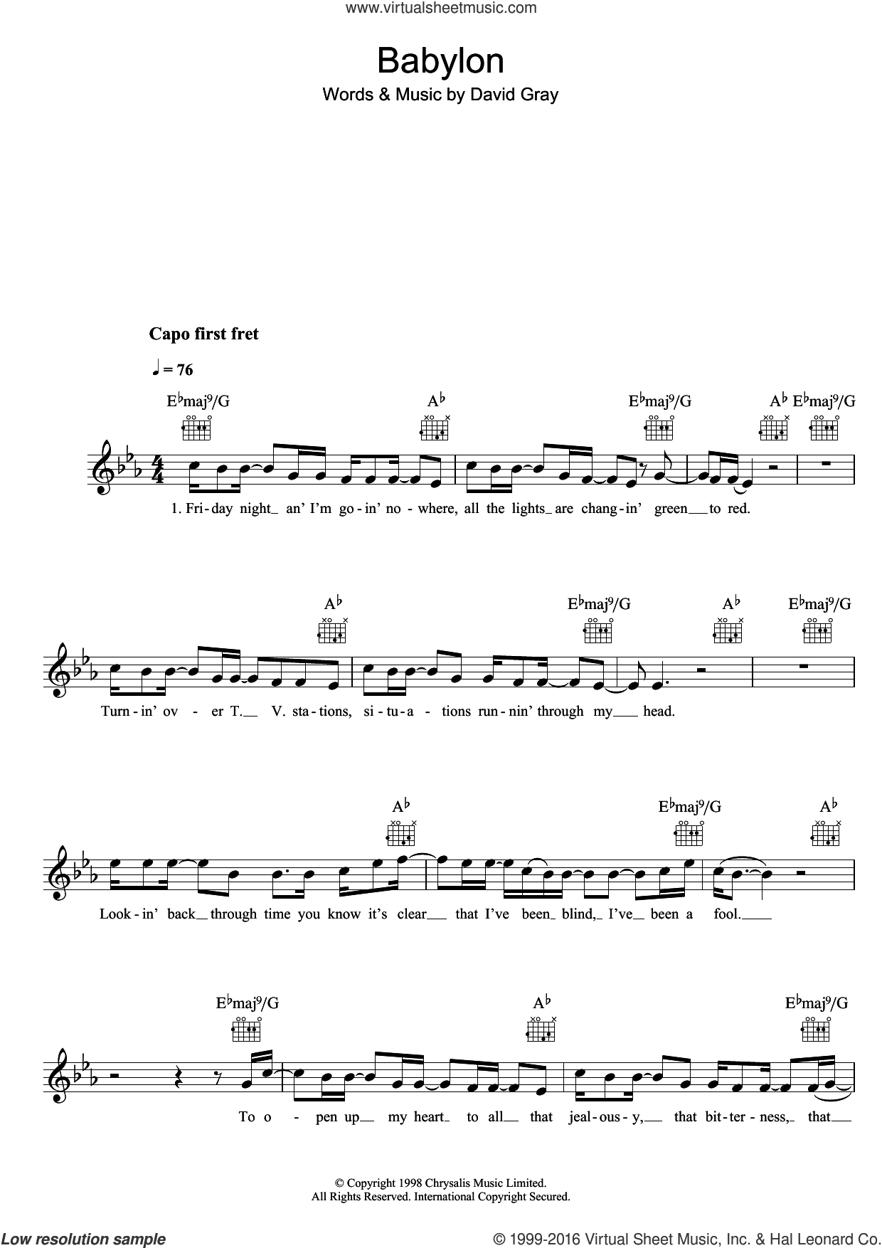 Babylon sheet music for voice and other instruments (fake book) by David Gray, intermediate skill level